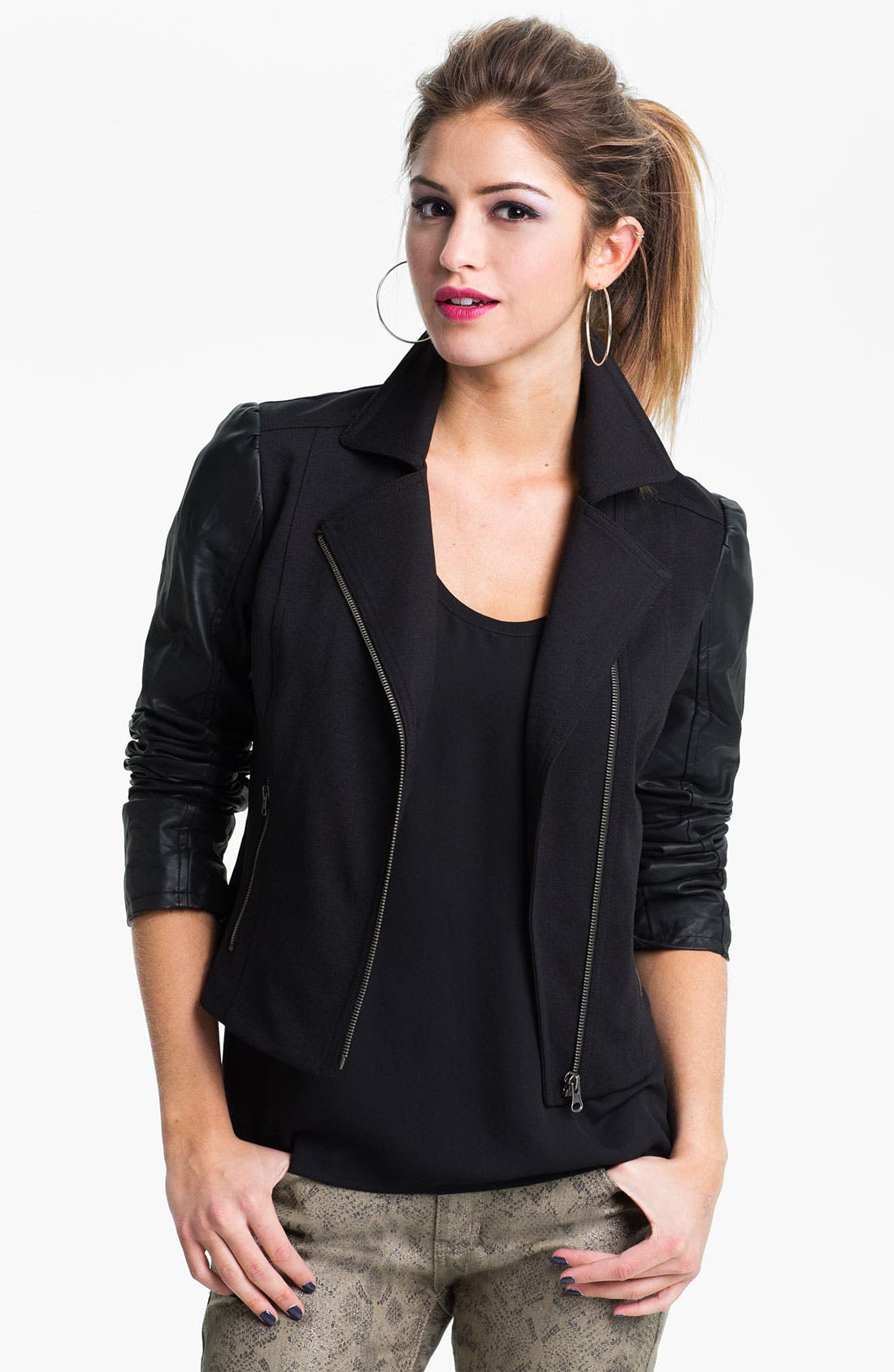 Alternate Image 1 Selected - Collection B Faux Leather Sleeve Moto Jacket (Juniors)