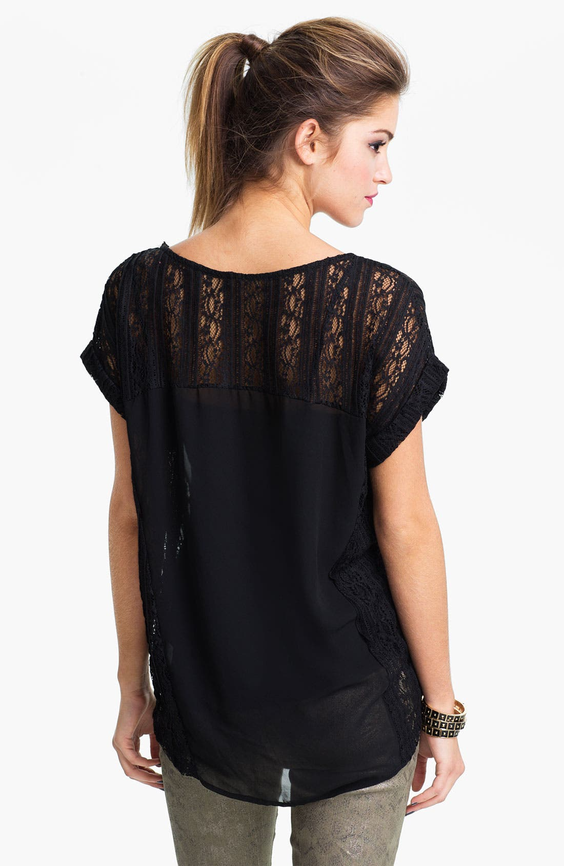 Alternate Image 2  - Lush Lace & Chiffon Top (Juniors)