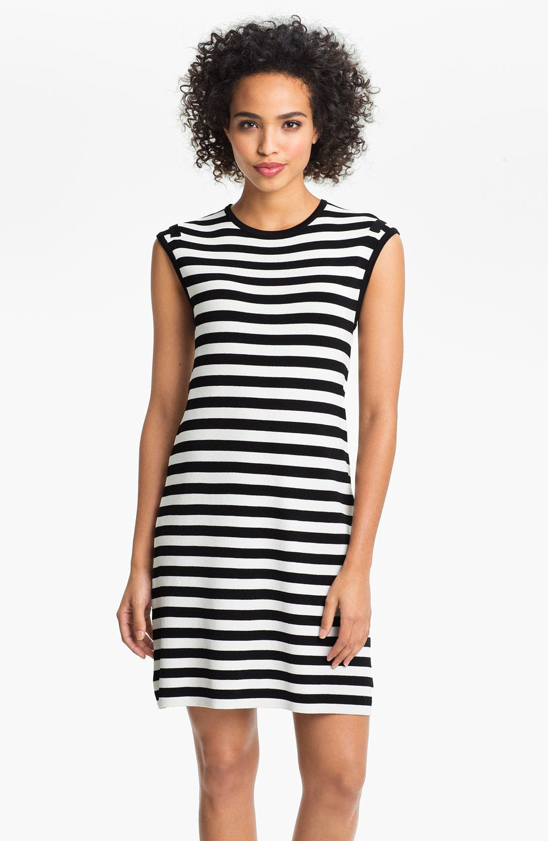 Alternate Image 1 Selected - Calvin Klein Cap Sleeve Stripe Sweater Dress