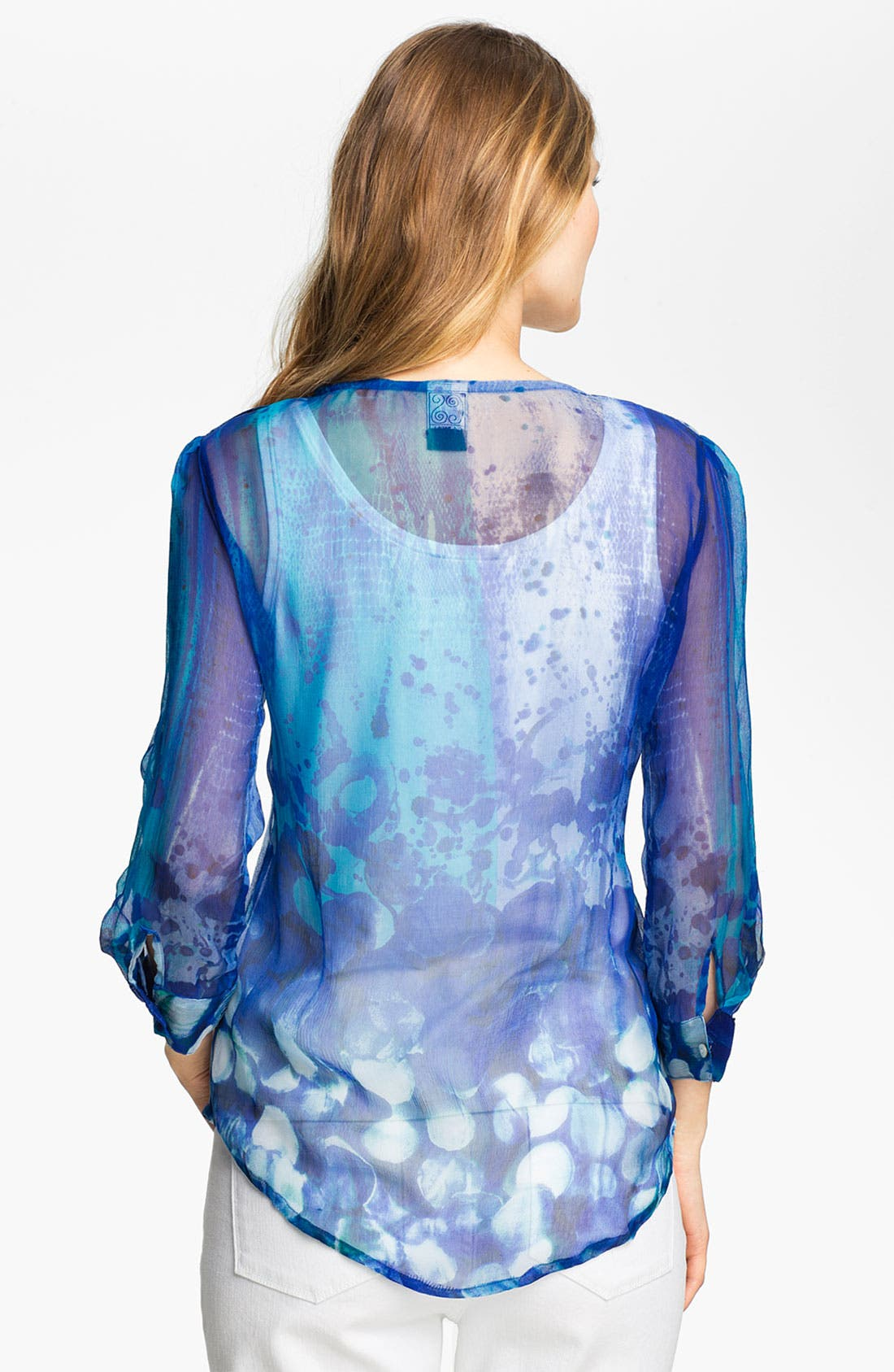 Alternate Image 2  - Casual Studio Split Neck Sheer Blouse