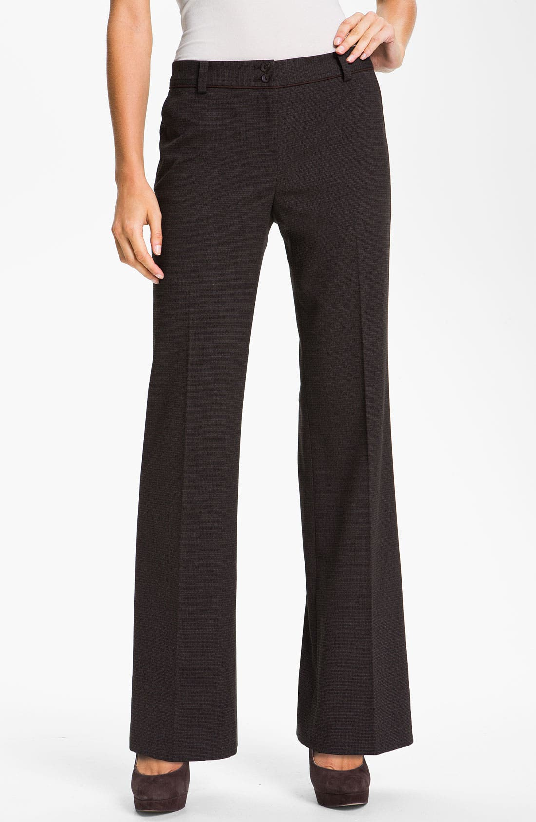 Alternate Image 1 Selected - Halogen® 'Taylor' Cross Weave Curvy Fit Pants (Petite)