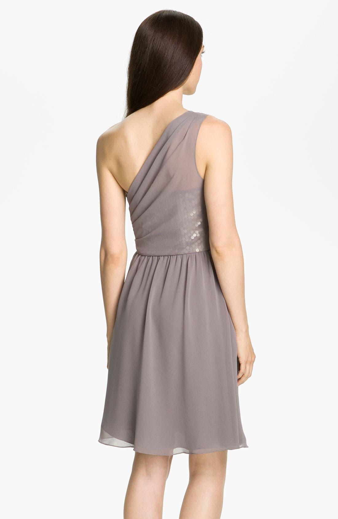 Alternate Image 2  - Donna Ricco One Shoulder Chiffon Dress with Sequin Trim