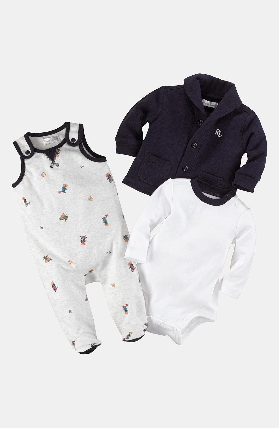 Alternate Image 2  - Ralph Lauren Bodysuit, Overalls & Cardigan (Infant)