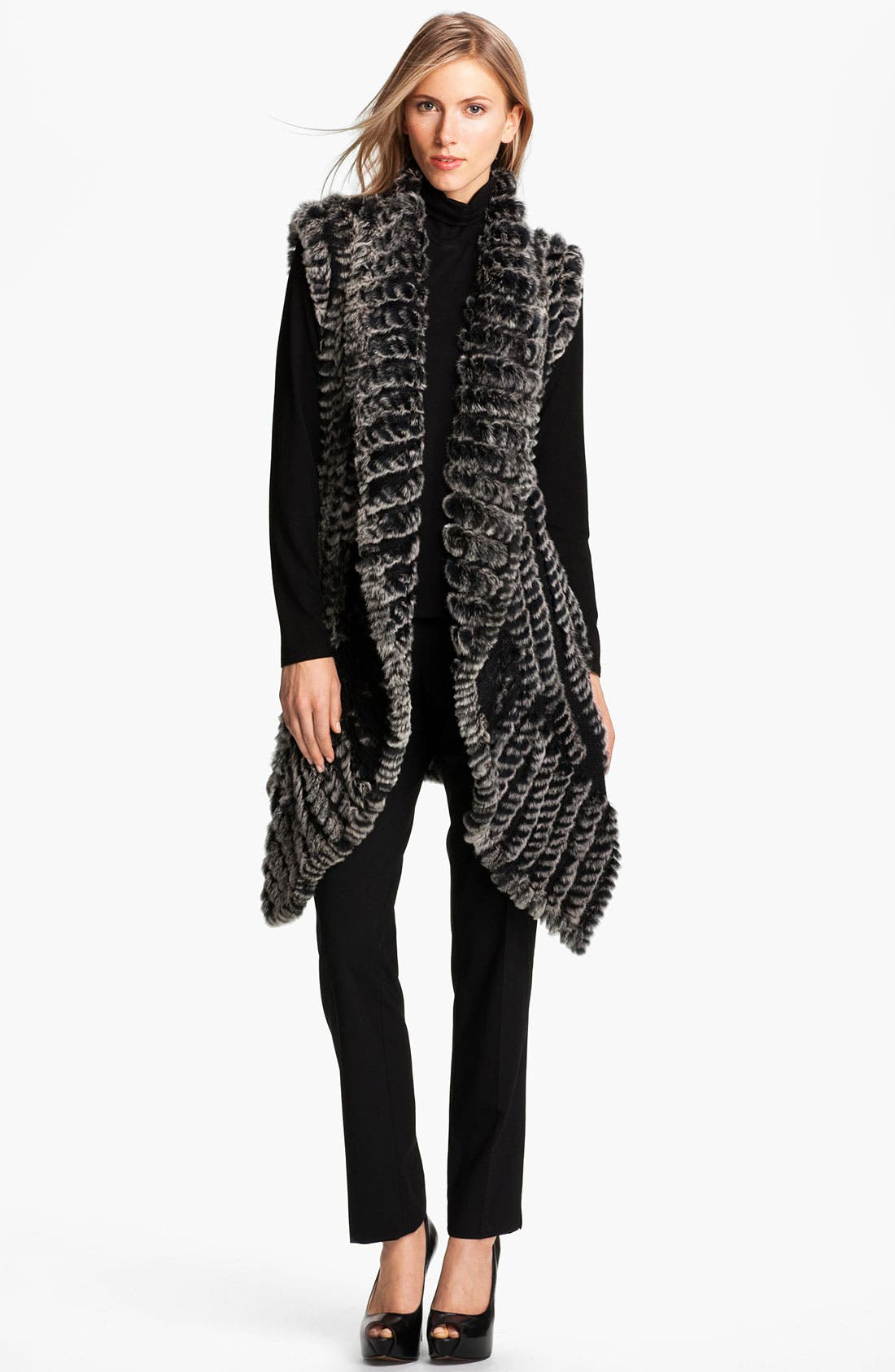 Alternate Image 4  - Alberto Makali Knit & Genuine Rabbit Fur Vest