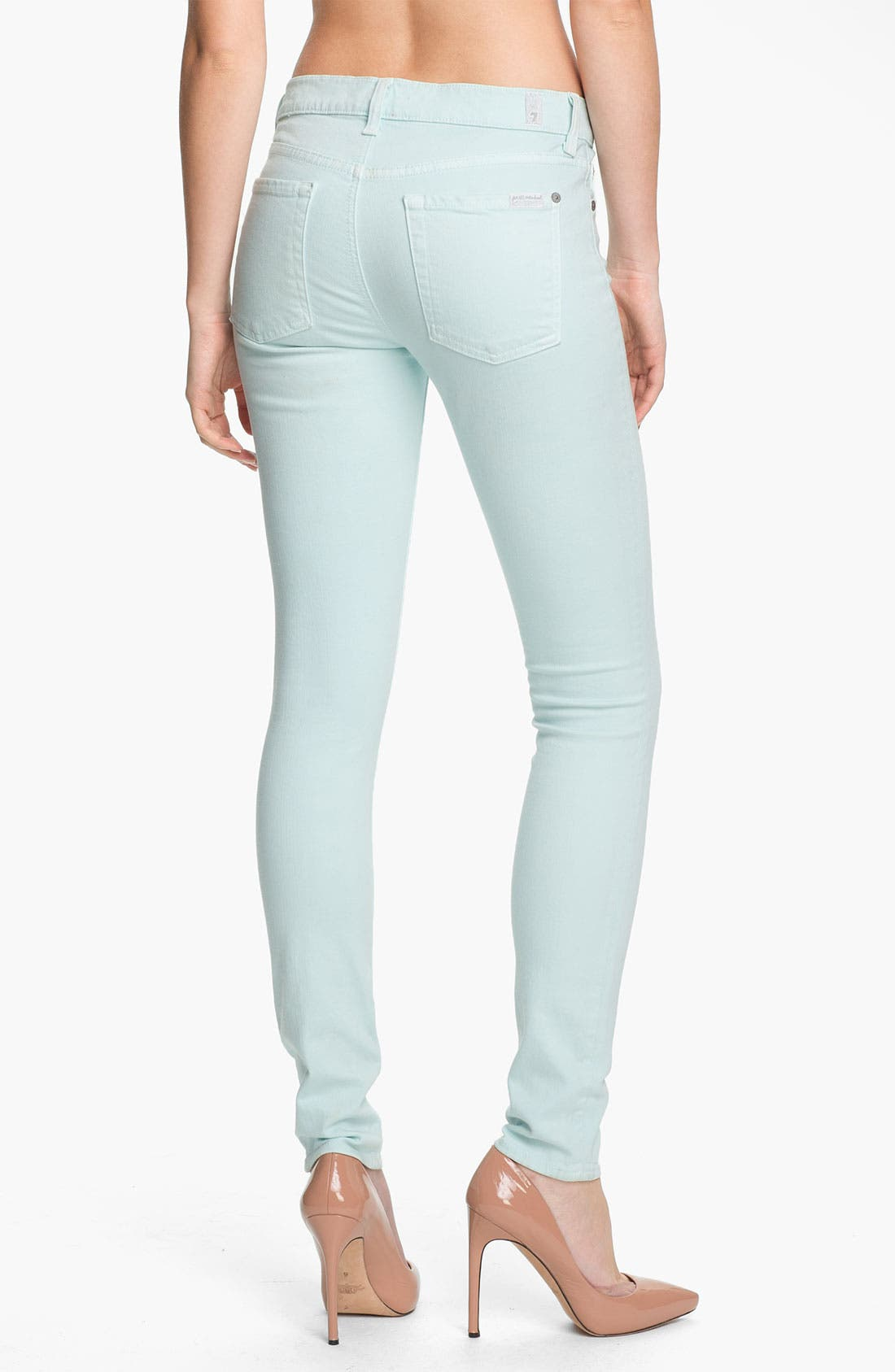 Alternate Image 2  - 7 For All Mankind® 'Slim Illusion' Overdyed Skinny Stretch Jeans (Sea Glass)