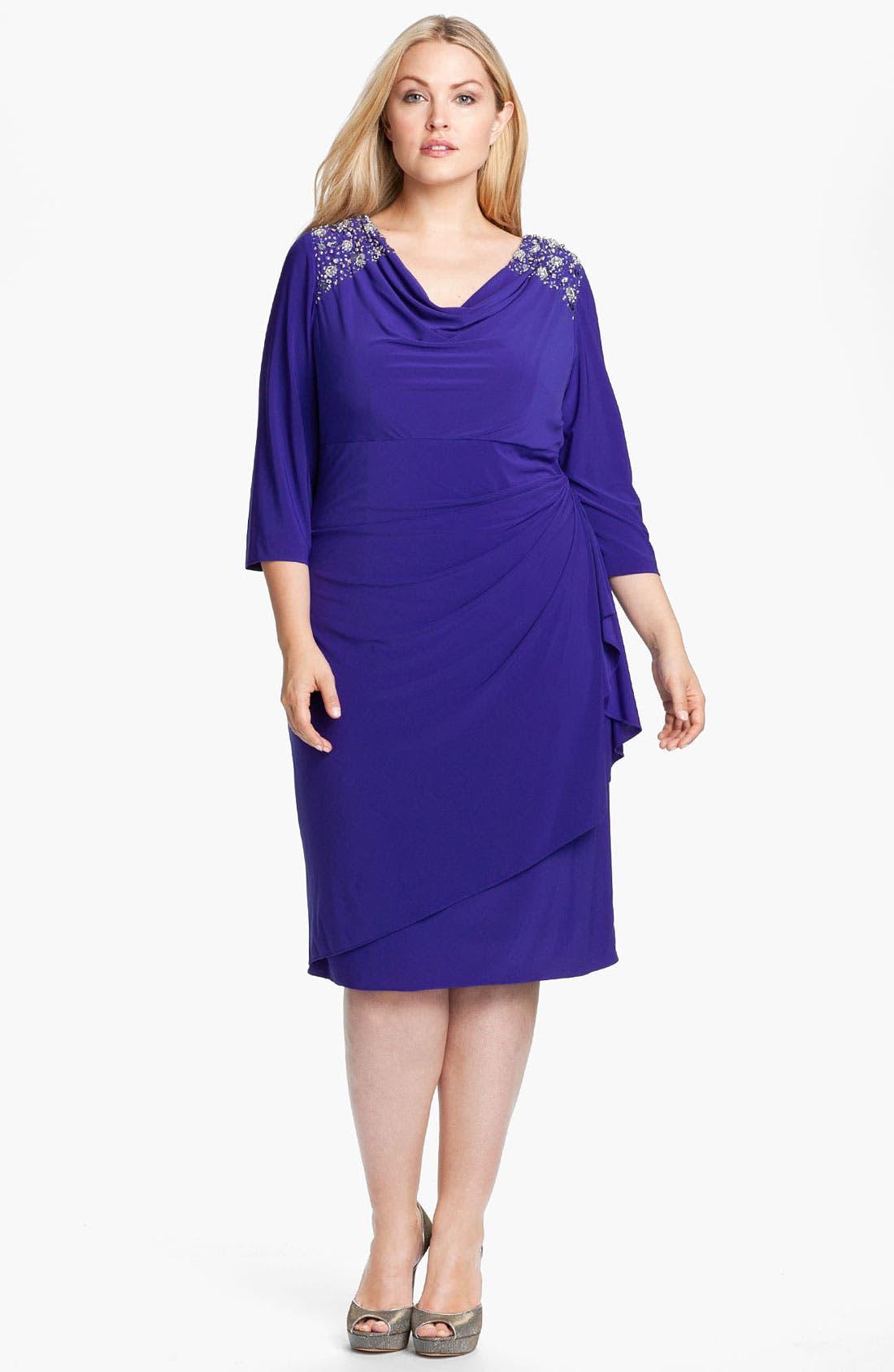 Alternate Image 1 Selected - Alex Evenings Jeweled Faux Wrap Matte Jersey Dress (Plus)