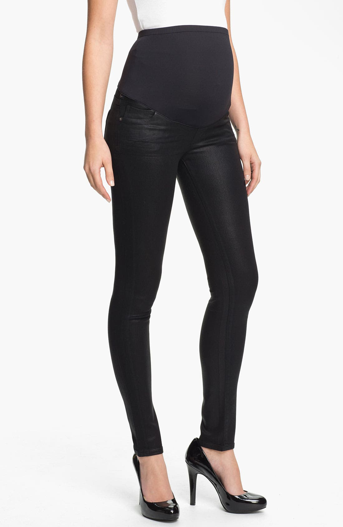 Main Image - Citizens of Humanity Coated Skinny Maternity Jeans (Black)