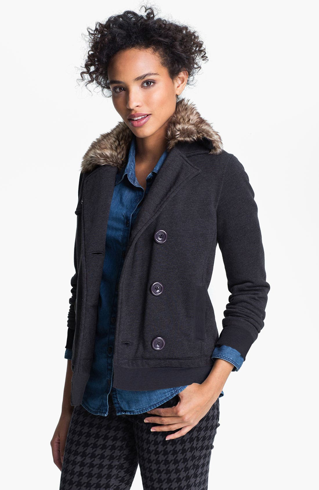Main Image - Caslon® Double Knit Jacket with Faux Fur Collar