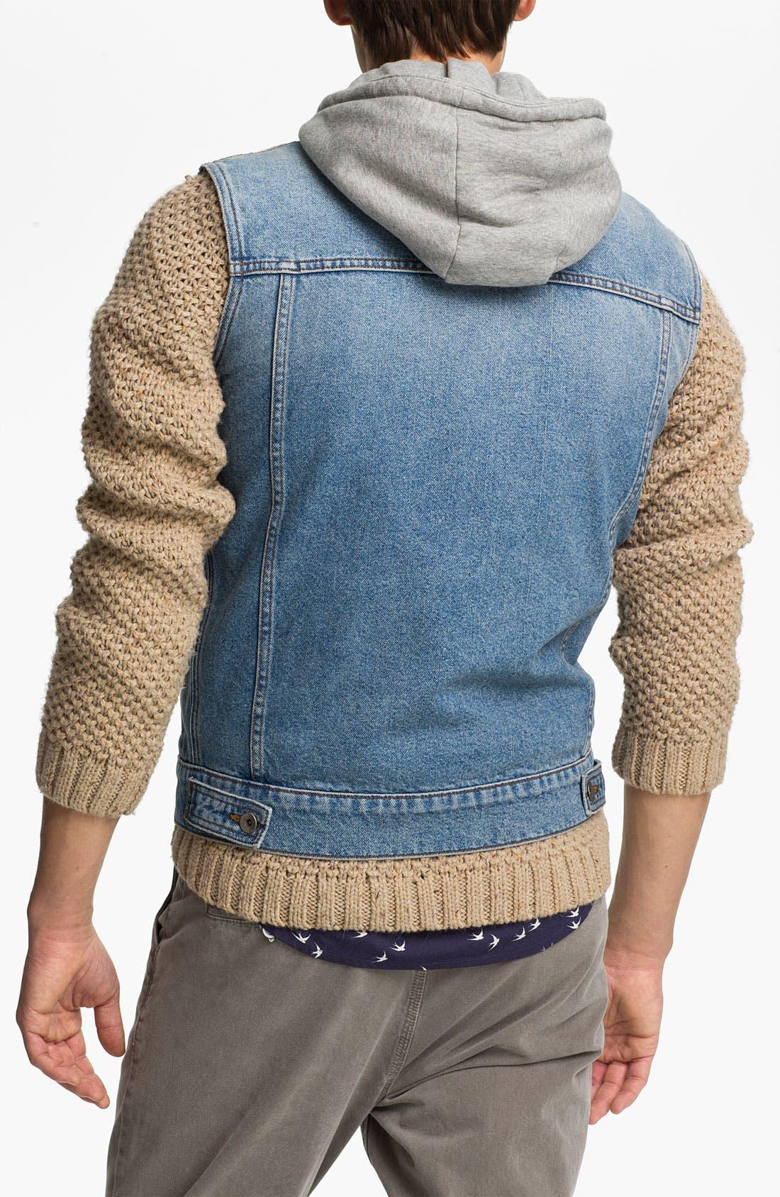 Alternate Image 2  - Topman Hooded Denim Vest
