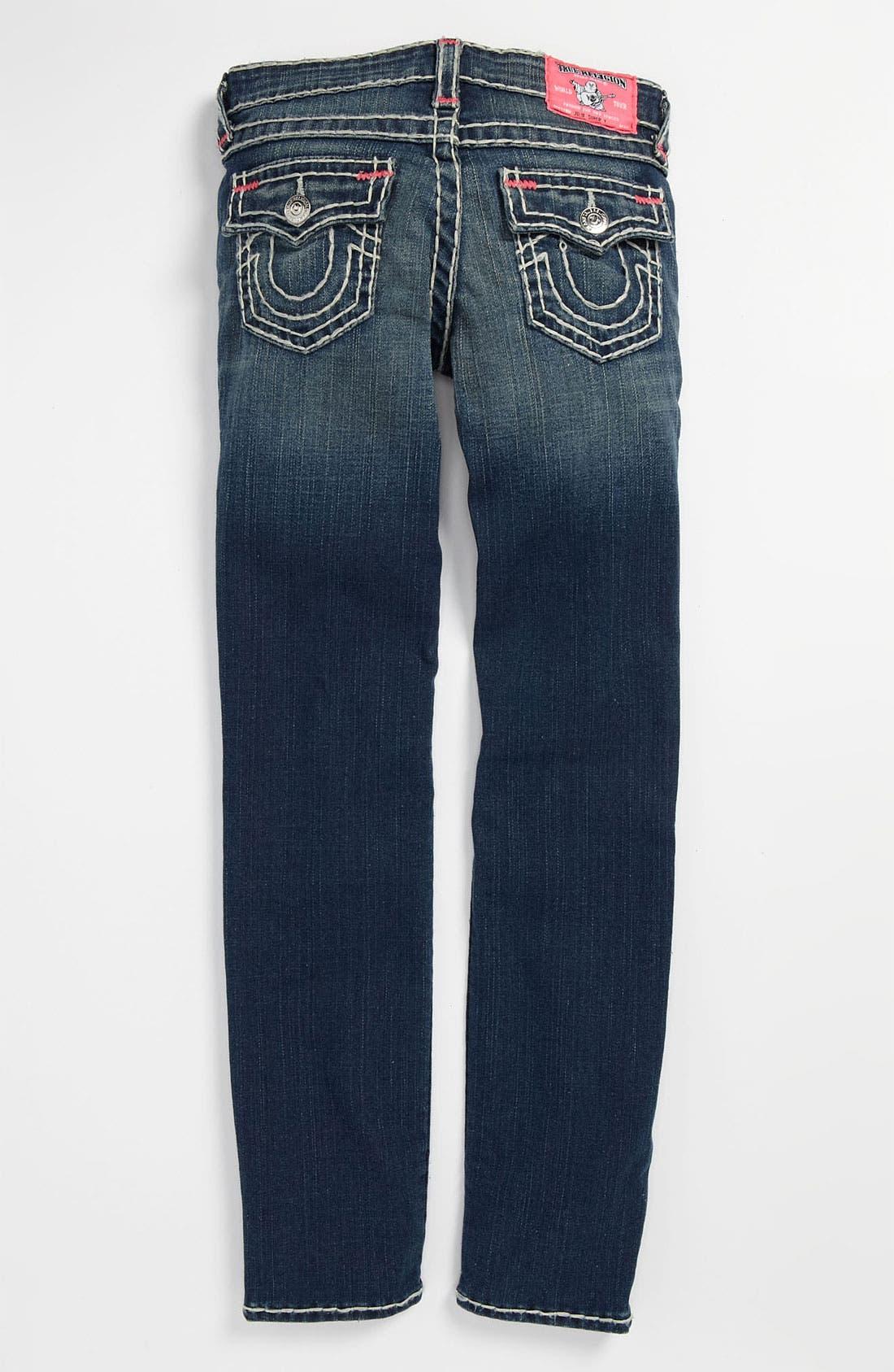 Alternate Image 1 Selected - True Religion Brand Jeans 'Bartack - Super T' Straight Leg Jeans (Little Girls & Big Girls)