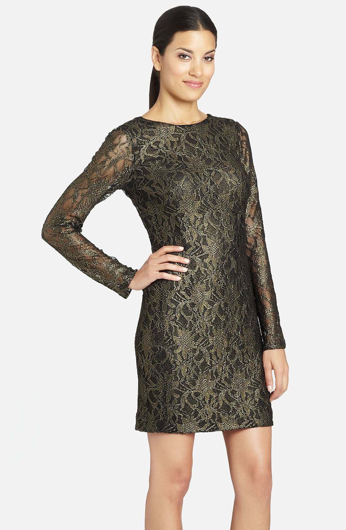 Alternate Image 1 Selected - Cynthia Steffe 'Lydia' Metallic Illusion Sleeve Lace Dress
