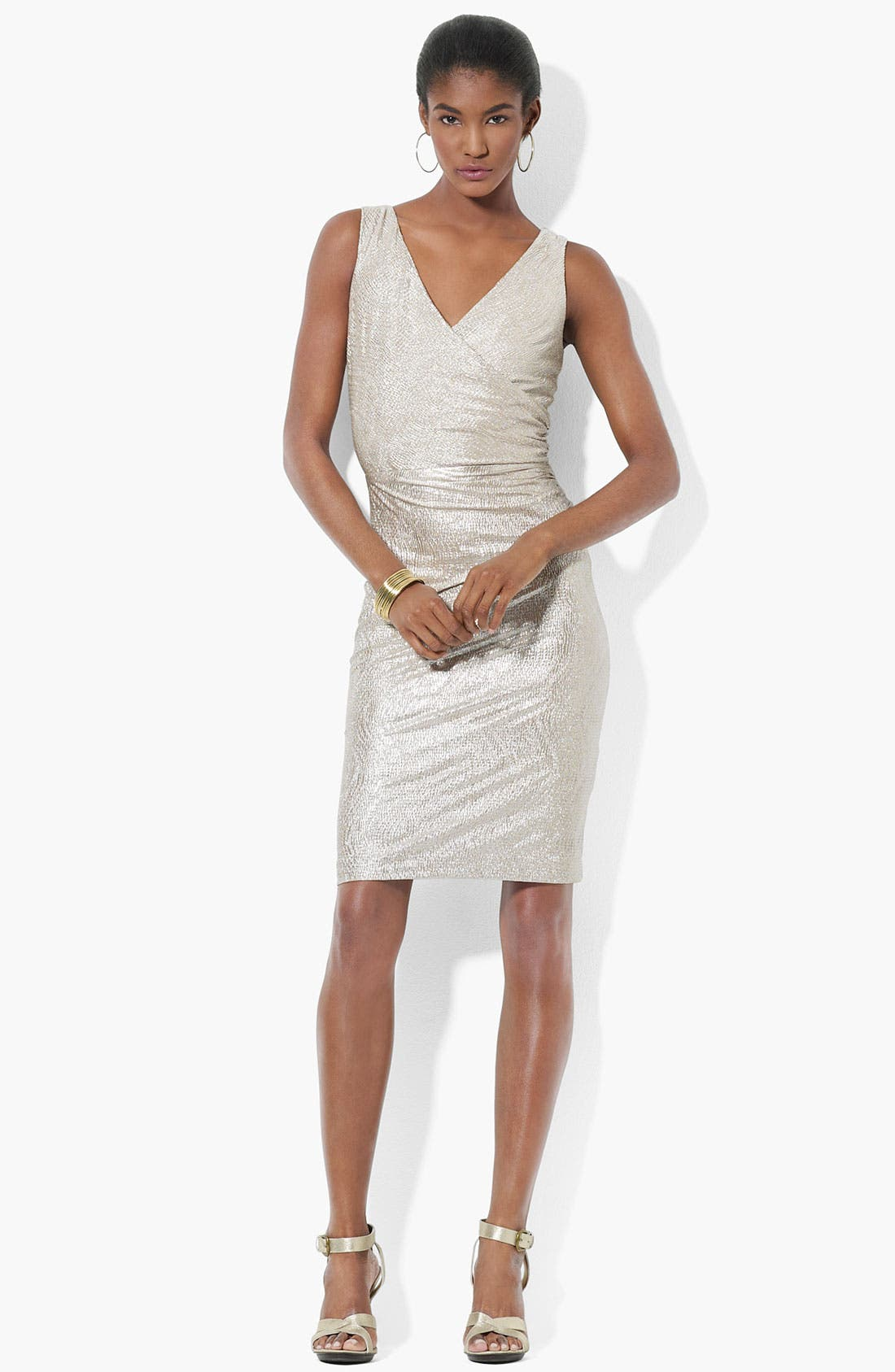 Main Image - Lauren Ralph Lauren Sleeveless Metallic Knit Sheath Dress
