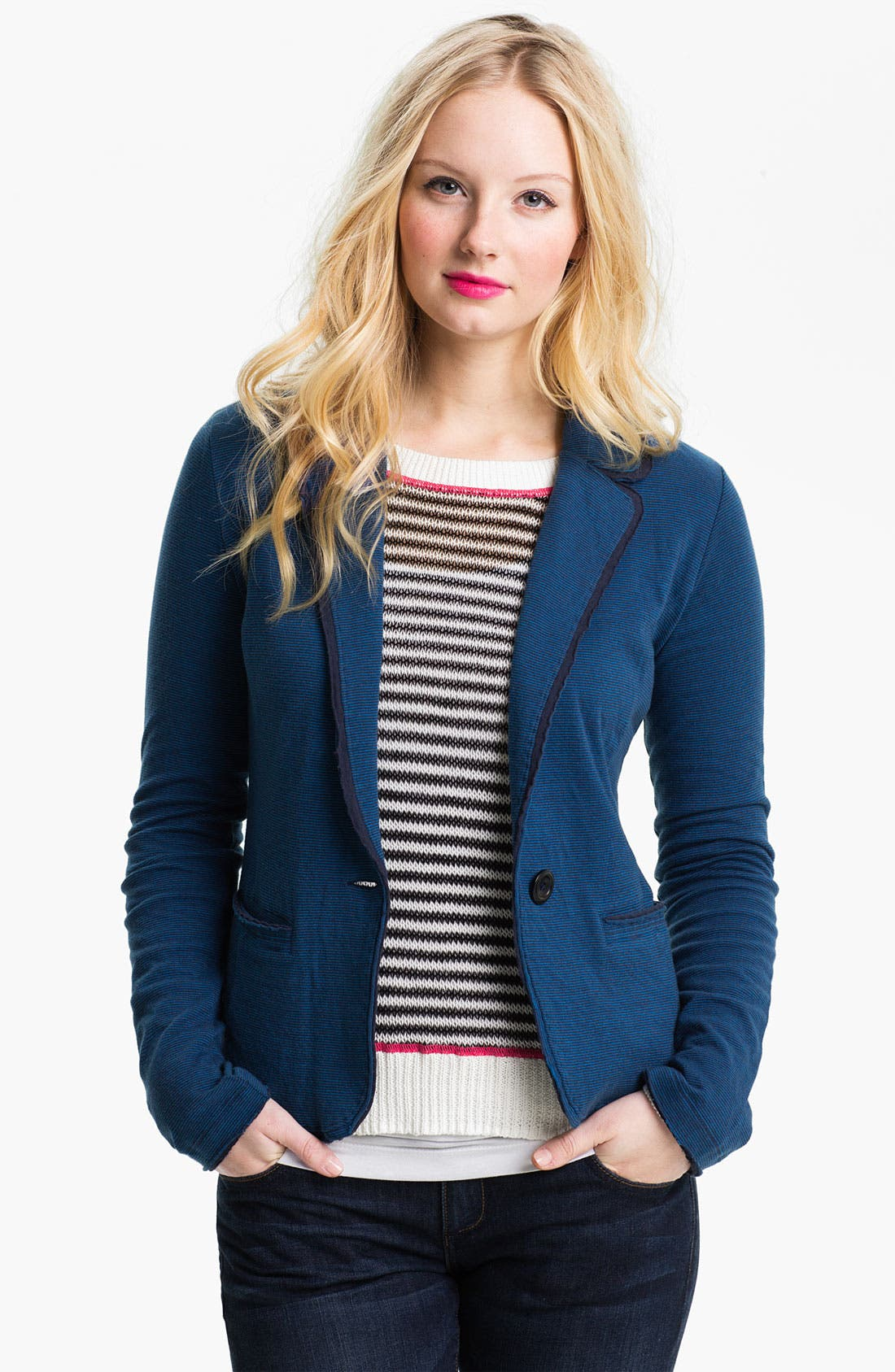 Main Image - Caslon® Long Sleeve Double Knit Blazer