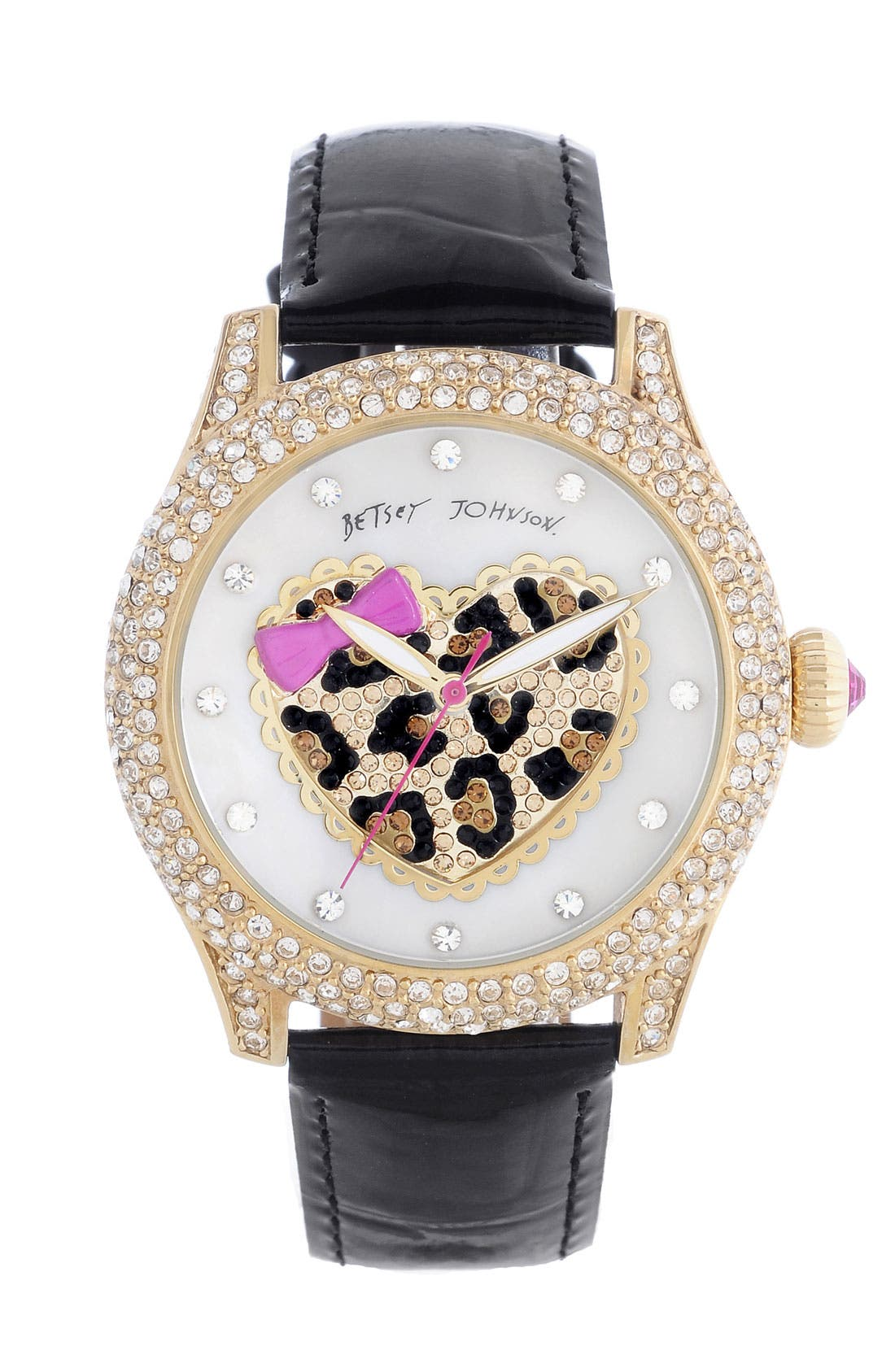 Main Image - Betsey Johnson Heart Dial Pavé Crystal Watch