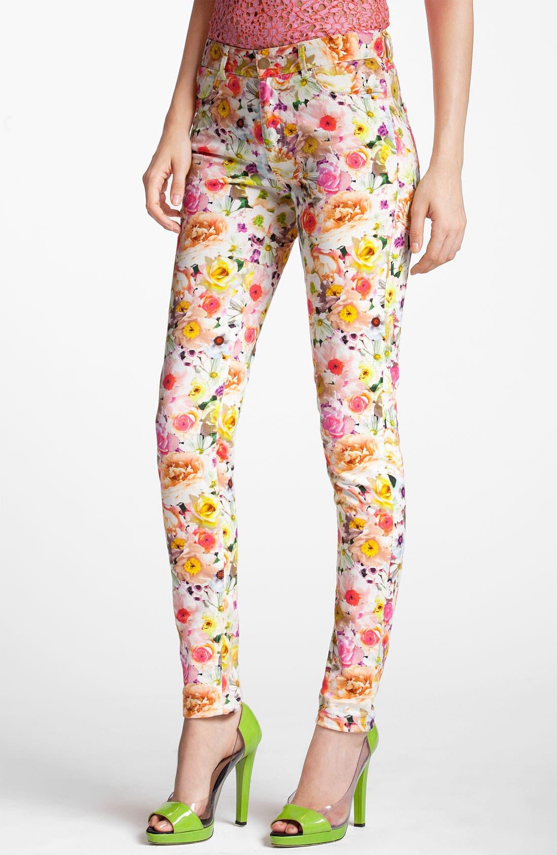 Alternate Image 1 Selected - MSGM Floral Print Skinny Jeans