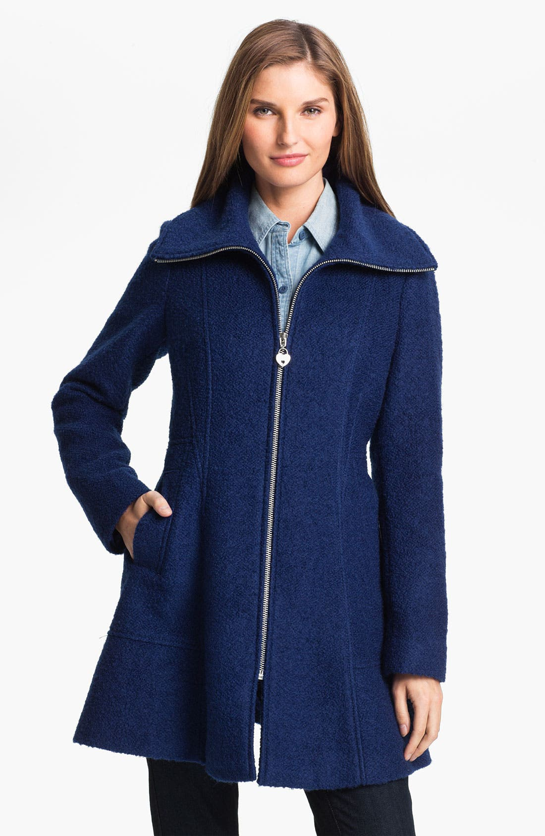 Main Image - GUESS Bouclé Walking Coat (Petite) (Online Exclusive)
