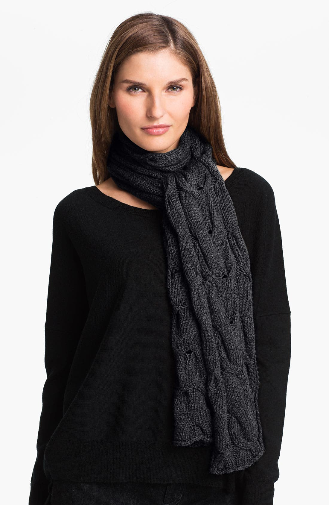 Alternate Image 1 Selected - Eileen Fisher Cabled Merino Wool Scarf (Online Exclusive)