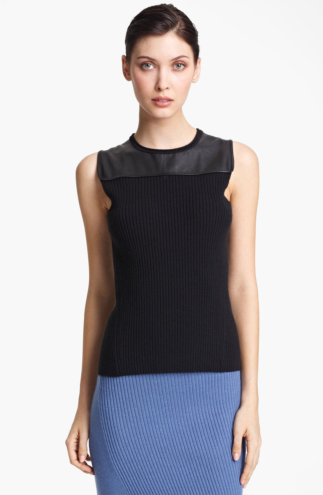 Alternate Image 1 Selected - Reed Krakoff Leather Yoke Knit Top