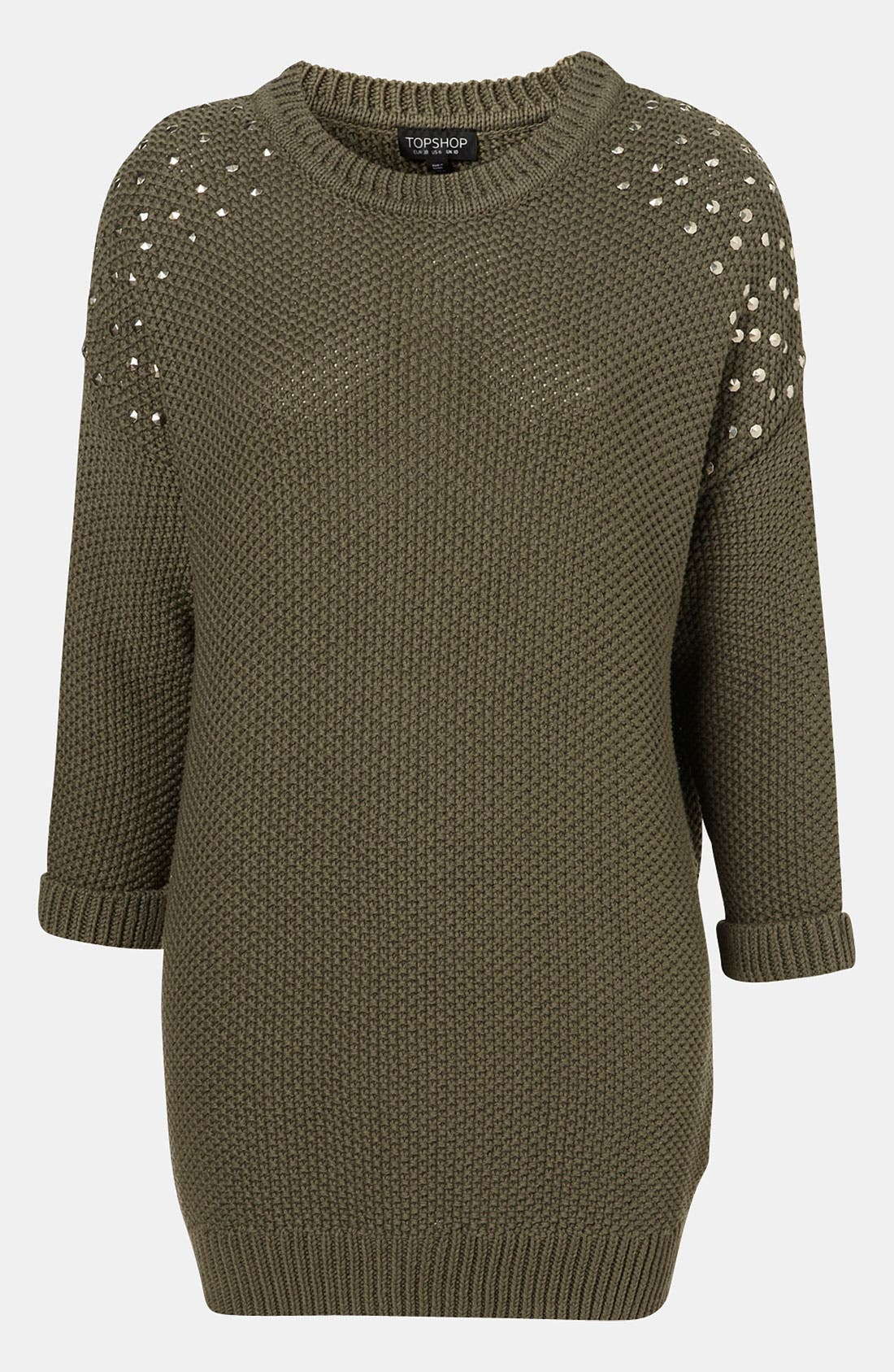 Main Image - Topshop Studded Shoulder Tunic Sweater