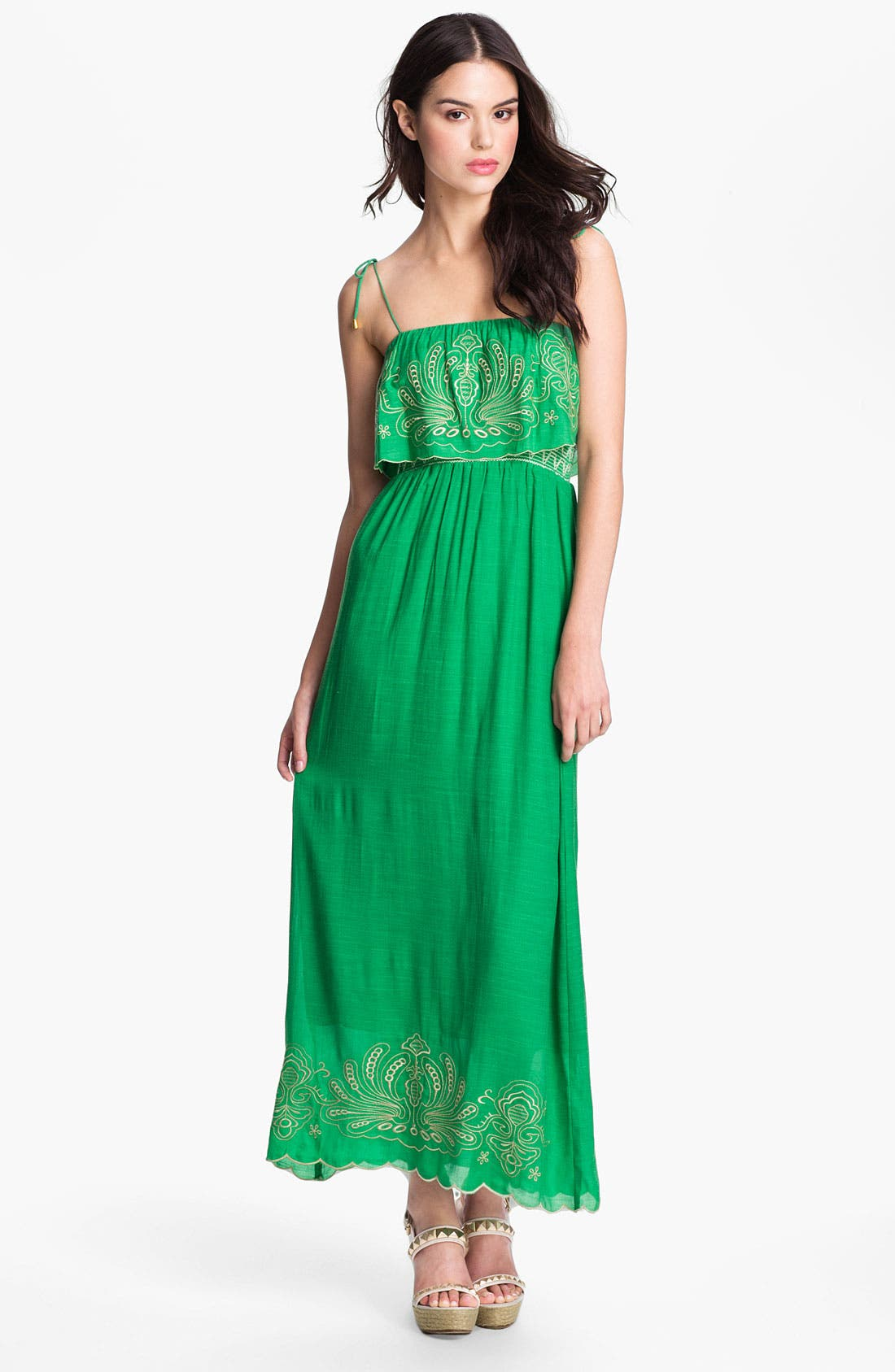 Main Image - Tbags Los Angeles Embroidered Trim Ruffle Bodice Maxi Dress