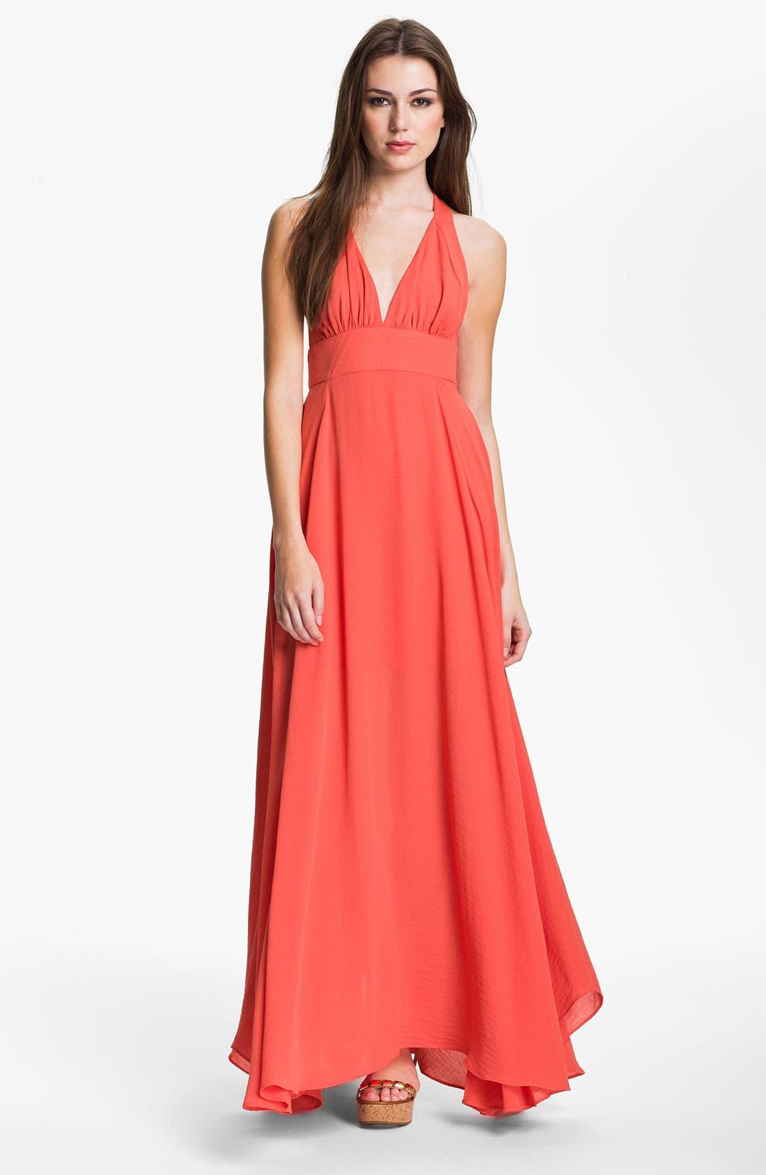 Main Image - Abi Ferrin 'Goldie' V-Neck Halter Maxi Dress