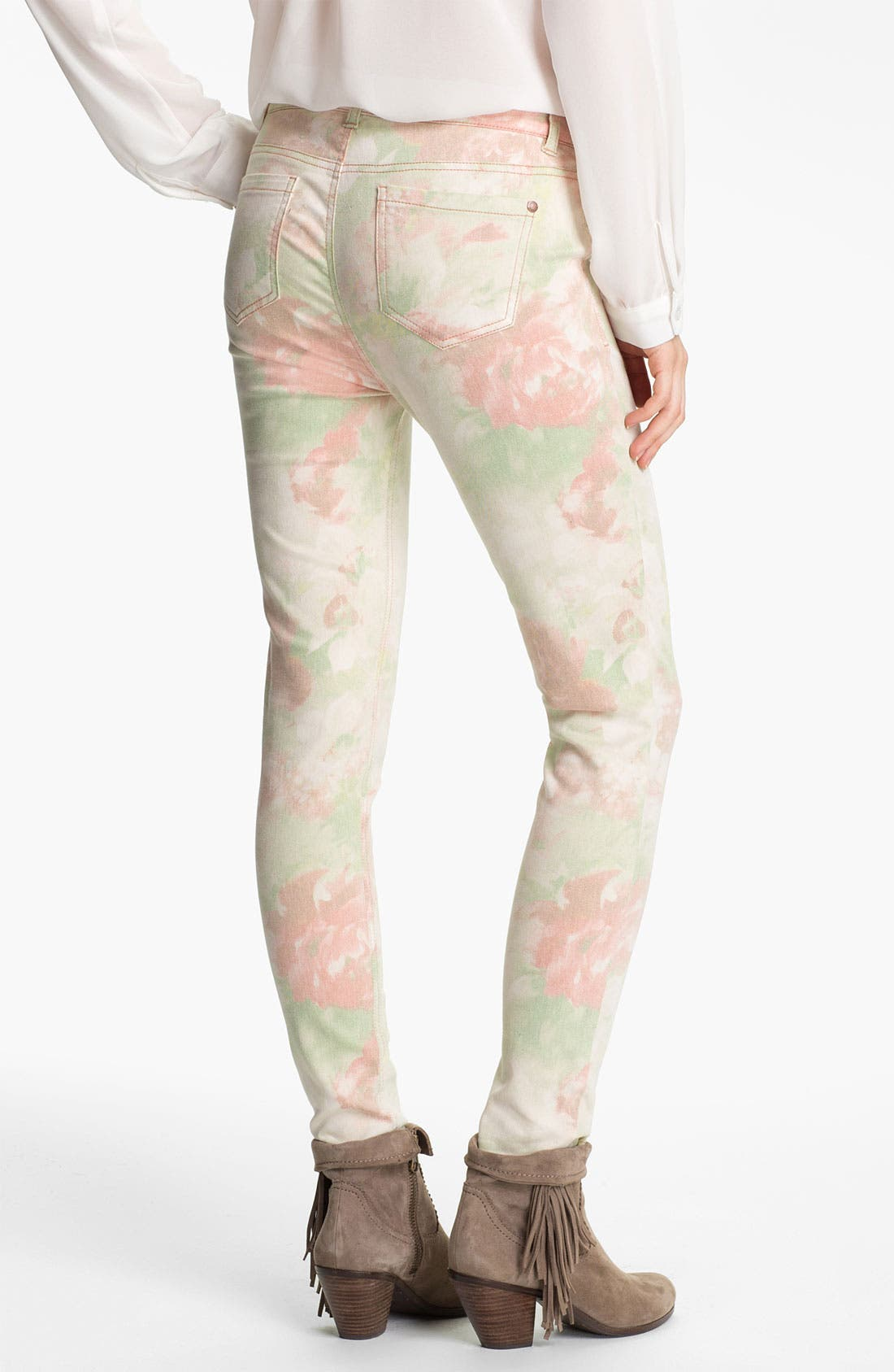 Alternate Image 1 Selected - Fire Photo Floral Print Skinny Jeans (Juniors)