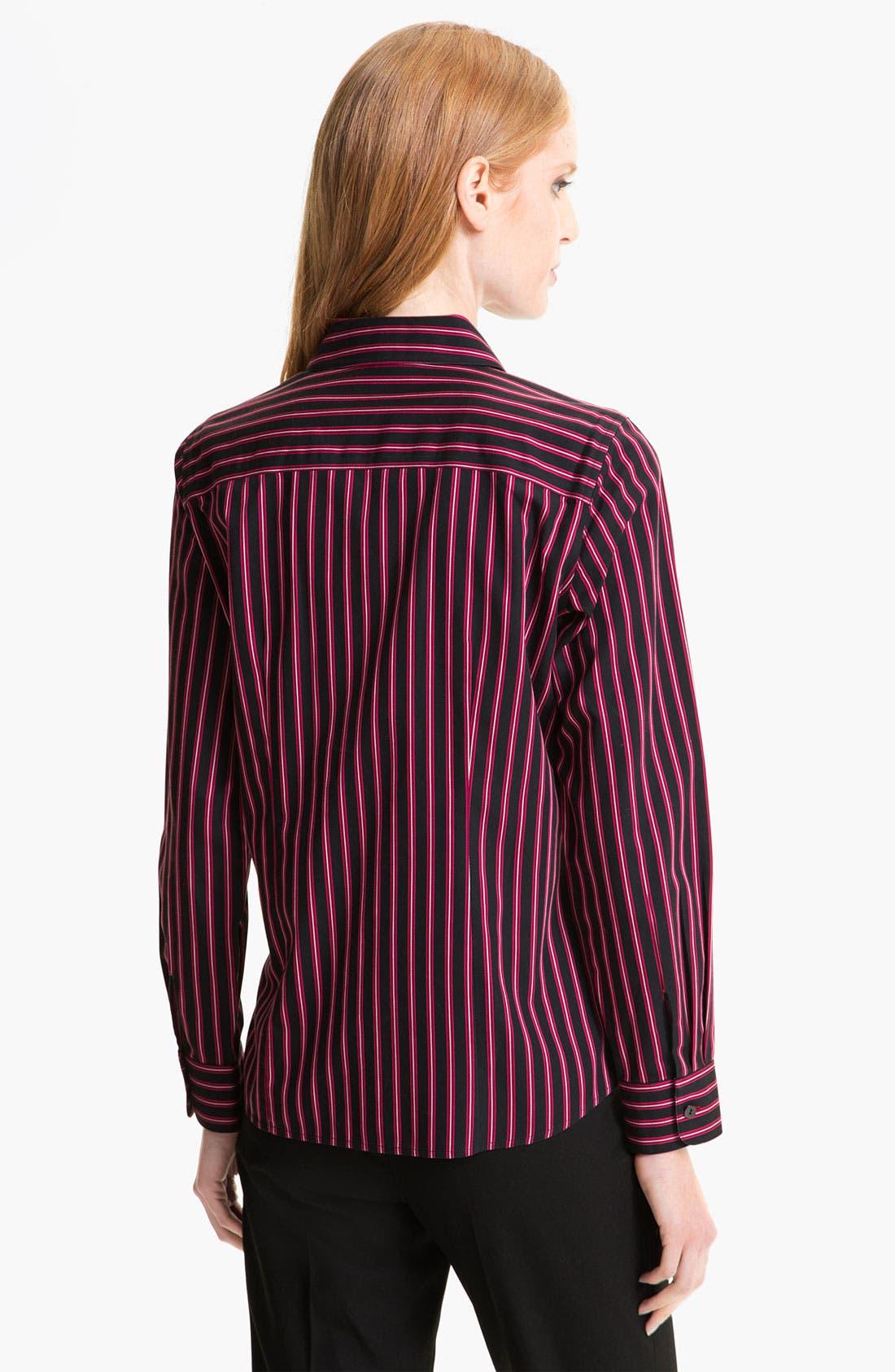Alternate Image 2  - Foxcroft Satin Stripe Shirt (Petite)