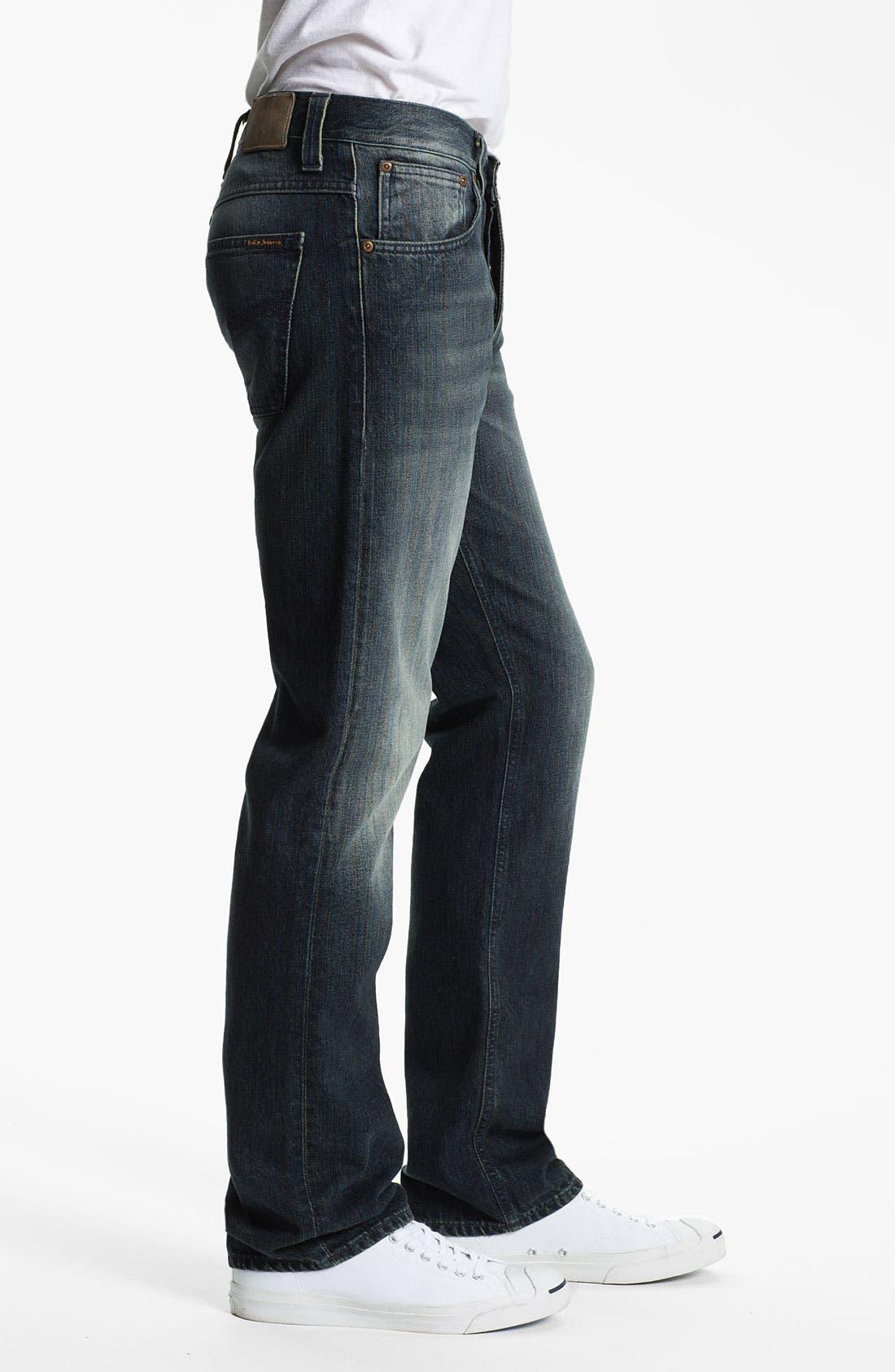 Alternate Image 3  - Nudie 'Average Joe' Straight Leg Jeans (Organic Black and Blue)