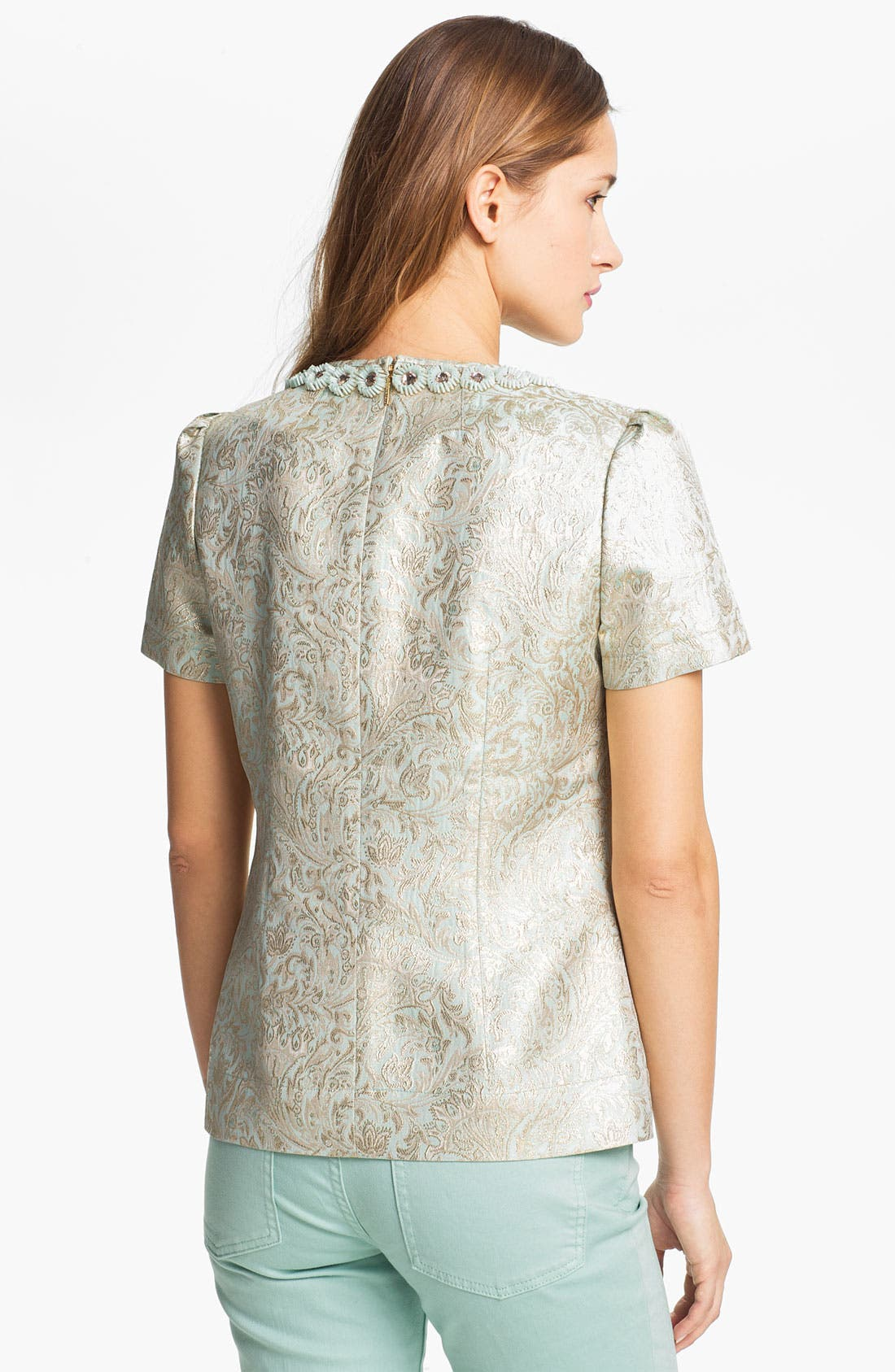 Alternate Image 2  - Tory Burch 'Lola' Metallic Silk Top