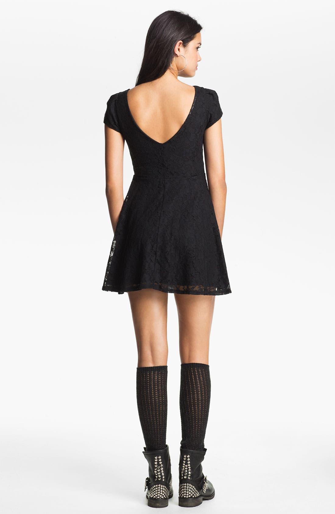 Alternate Image 2  - Fire Lace Skater Dress (Juniors)