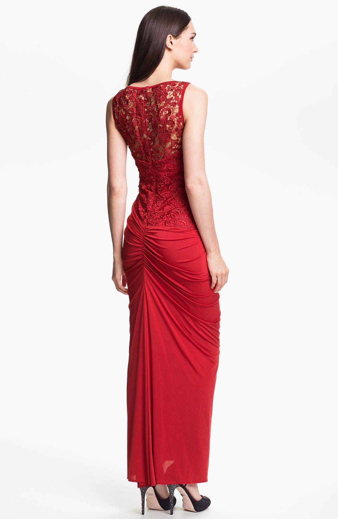 Alternate Image 2  - Jessica McClintock Illusion Yoke Side Slit Jersey Gown