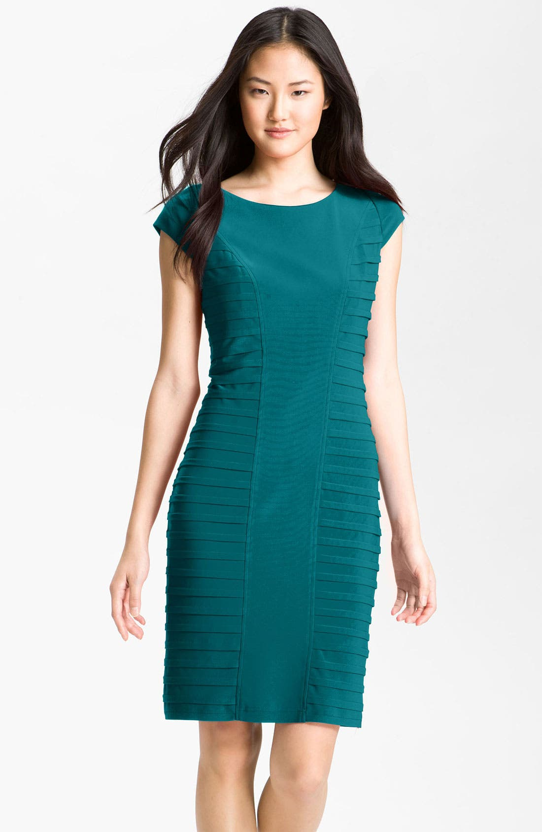Alternate Image 1 Selected - Adrianna Papell Pleat Panel Jersey Sheath Dress