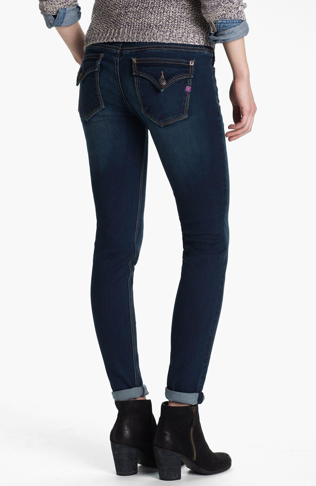 Alternate Image 1 Selected - Vigoss Flap Pocket Skinny Stretch Jeans (Juniors)