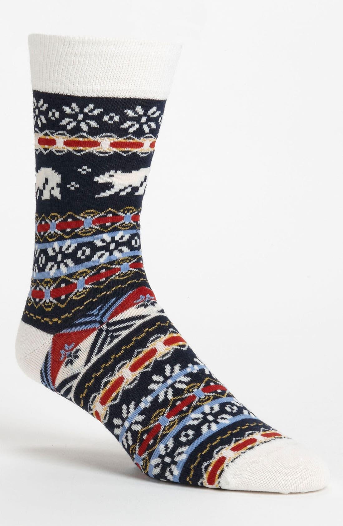 Main Image - Topman Fair Isle Polar Bear Pattern Socks