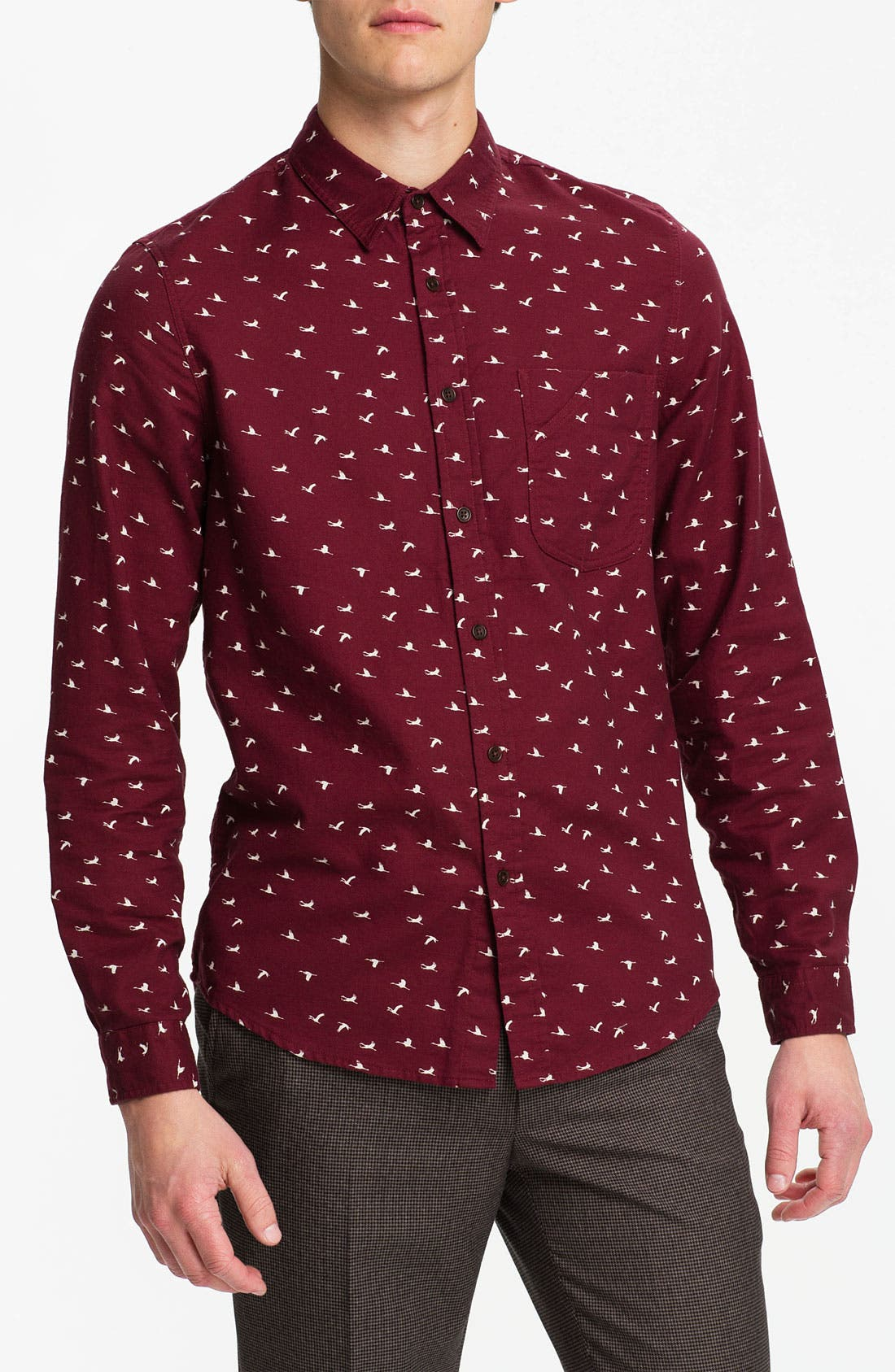 Alternate Image 1 Selected - Topman Crane Print Cotton Twill Shirt
