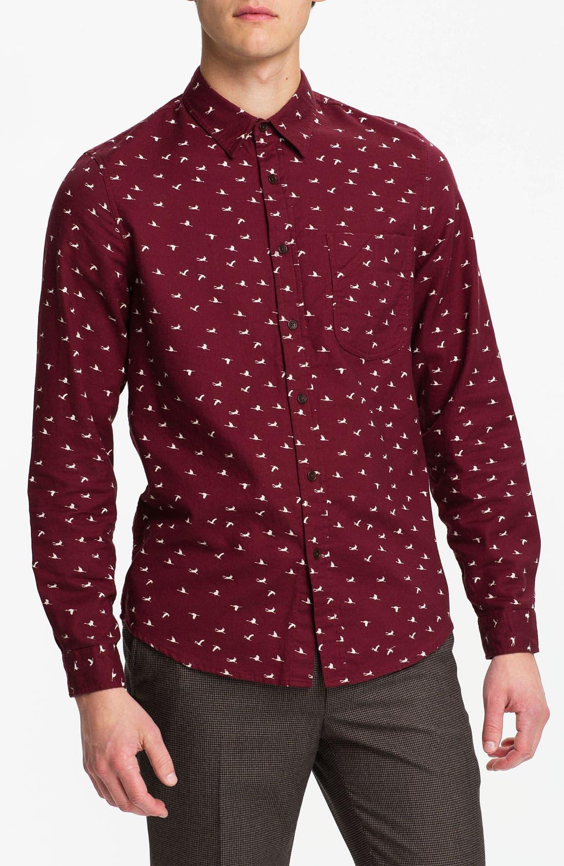 Main Image - Topman Crane Print Cotton Twill Shirt