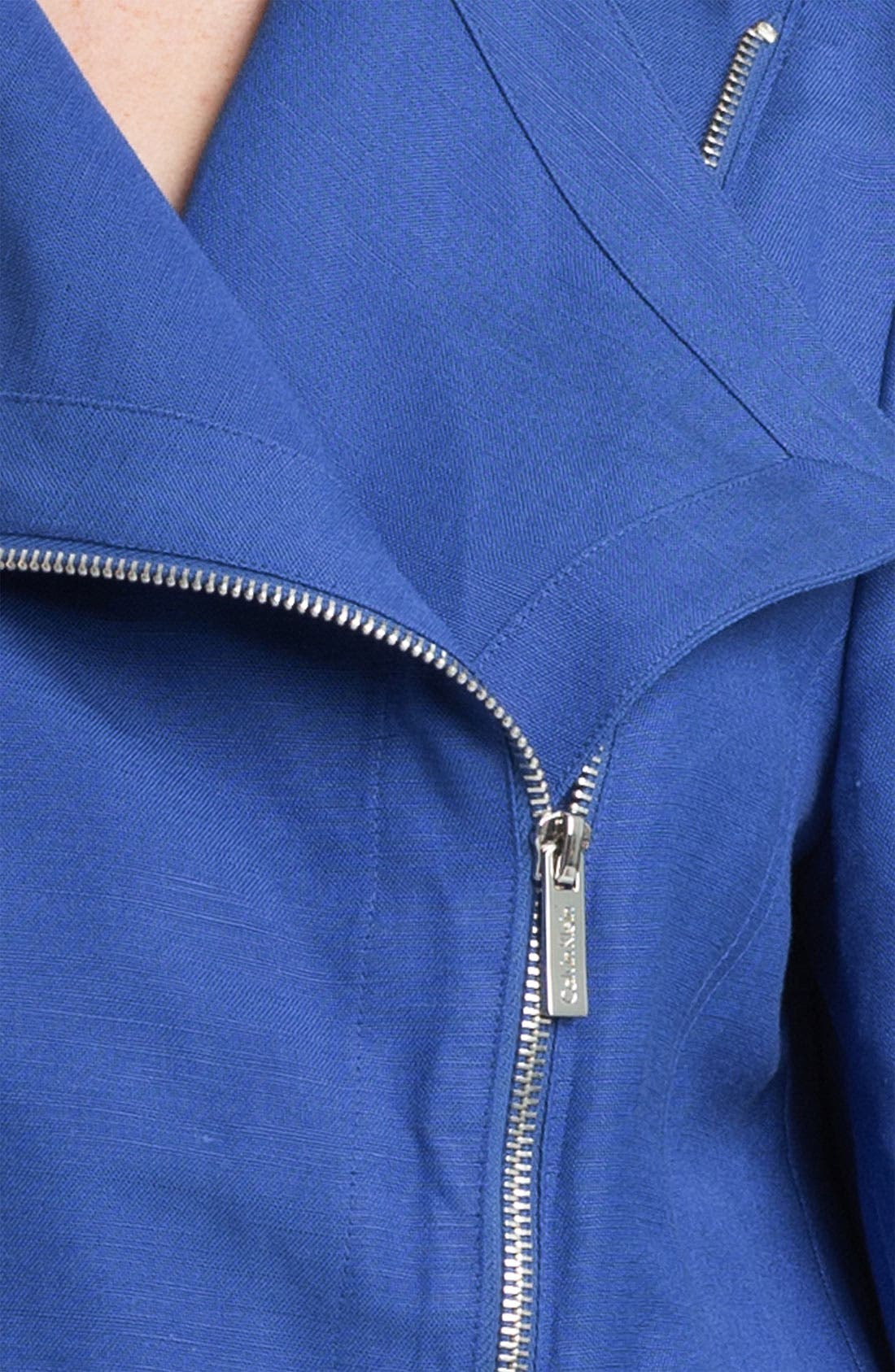 Alternate Image 3  - Calvin Klein Linen Blend Moto Jacket (Online Exclusive)