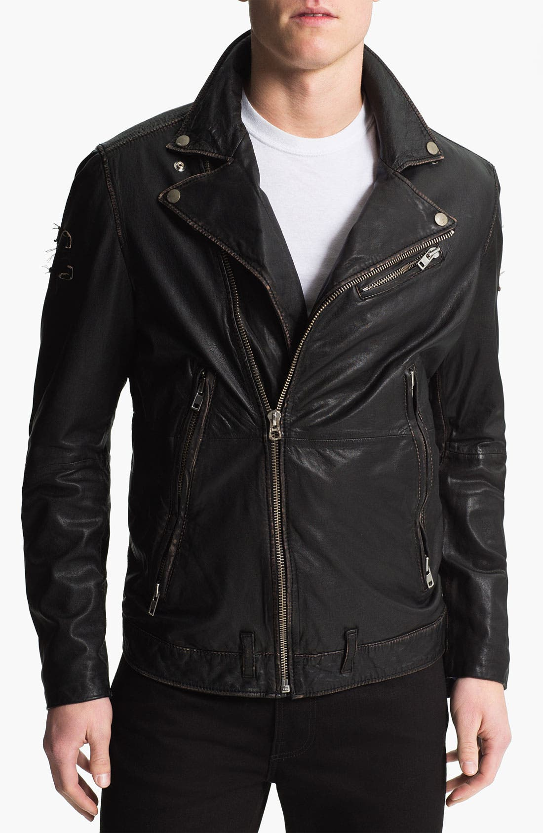 Alternate Image 1 Selected - DIESEL® 'Lapismium' Coated Leather Moto Jacket