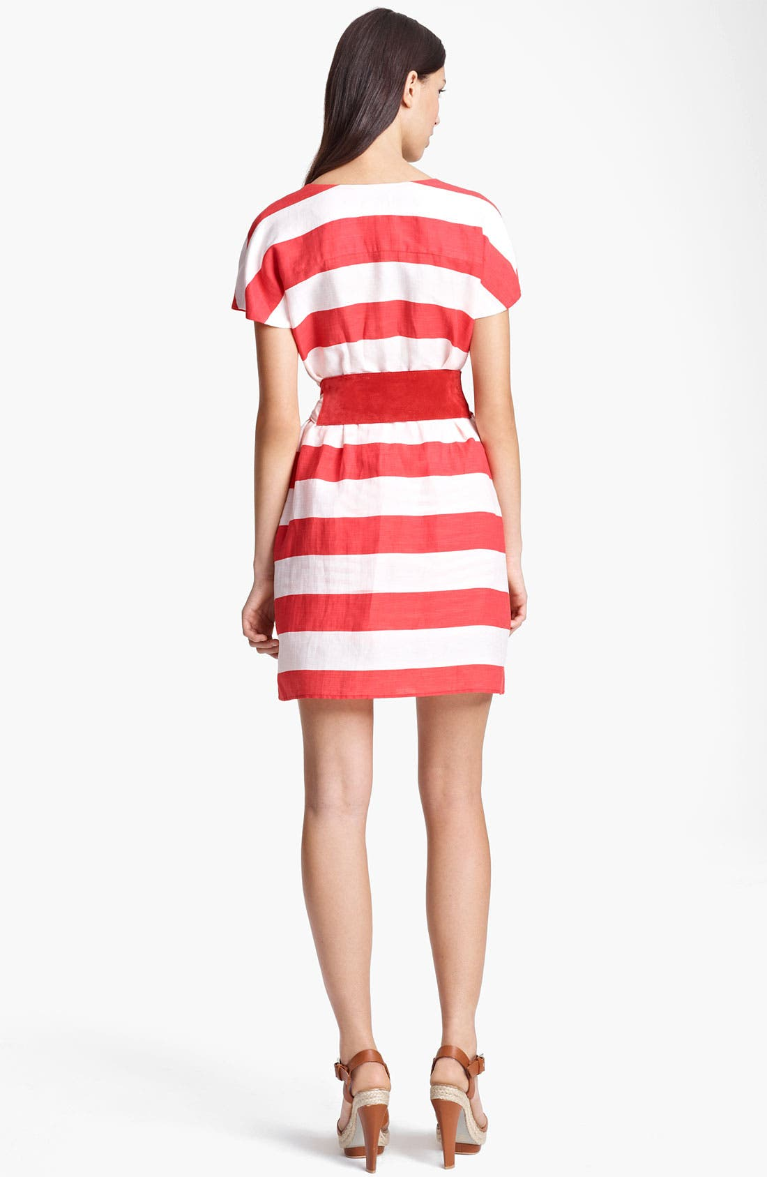Alternate Image 2  - Armani Collezioni Belted Stripe Linen Blend Dress