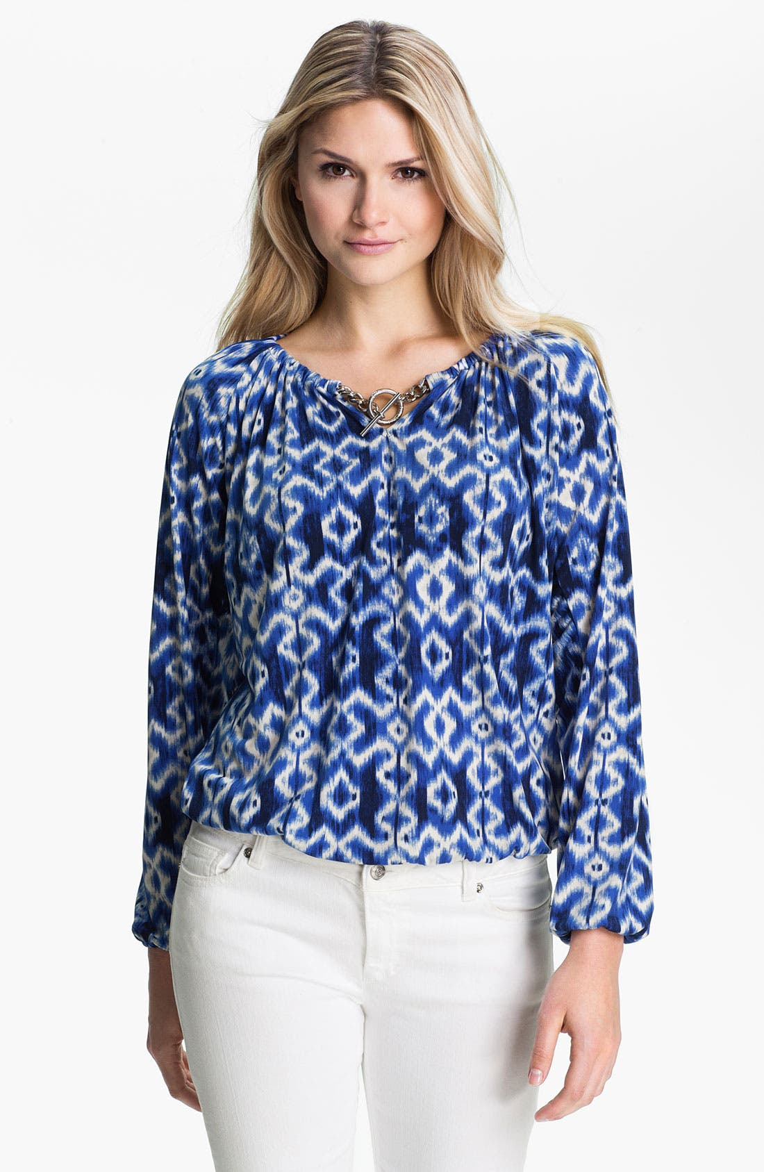 Alternate Image 1 Selected - MICHAEL Michael Kors Print Blouson Peasant Top