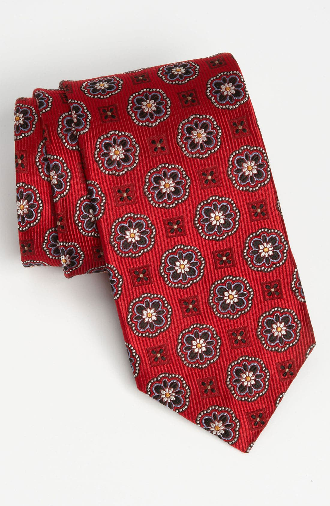 Woven Silk Tie,                         Main,                         color, Red