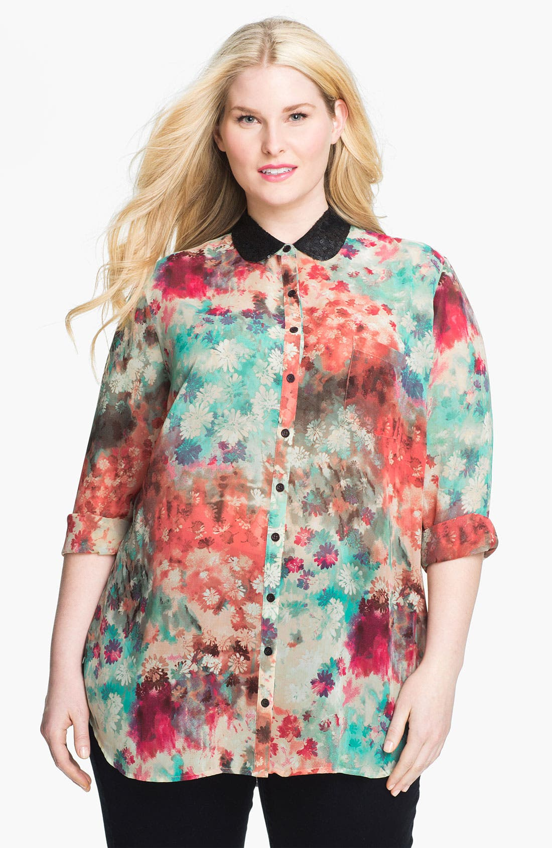 Main Image - Bellatrix Sequin Collar Blouse (Plus)