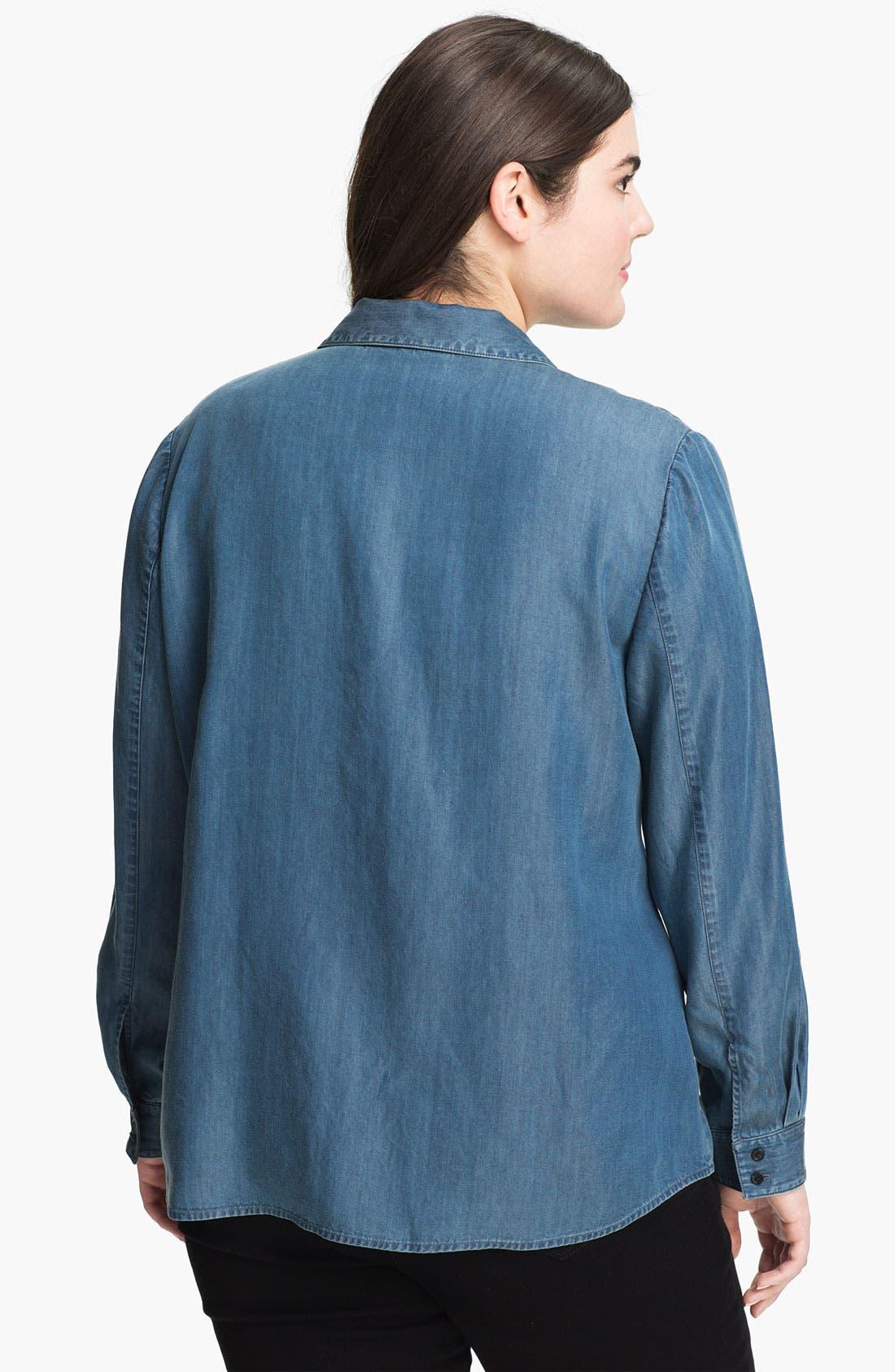 Alternate Image 2  - Sejour Chambray Button Shirt (Plus Size)