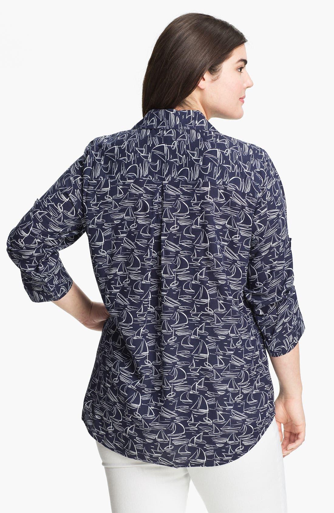 Alternate Image 2  - Foxcroft 'Sailing' Shaped Shirt (Plus)