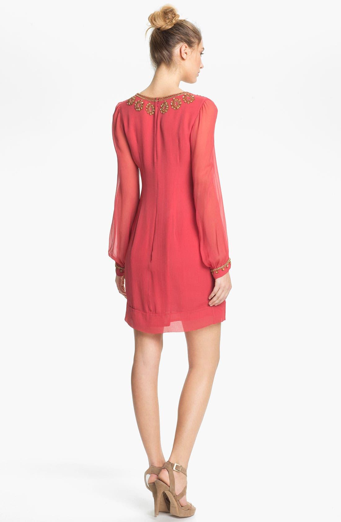 Alternate Image 2  - French Connection Embellished V-Neck Illusion Sleeve Silk Shift Dress