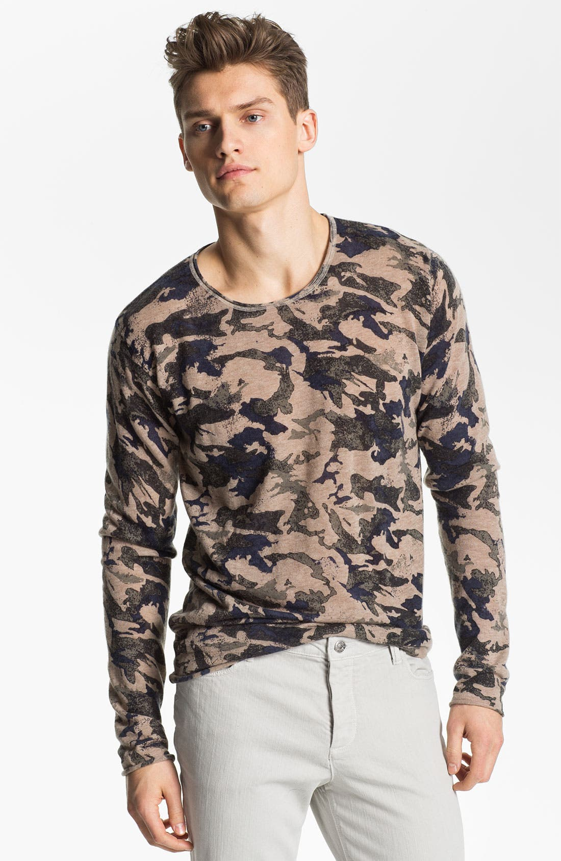 Alternate Image 1 Selected - Zadig & Voltaire Camo Print Long Sleeve Cashmere T-Shirt