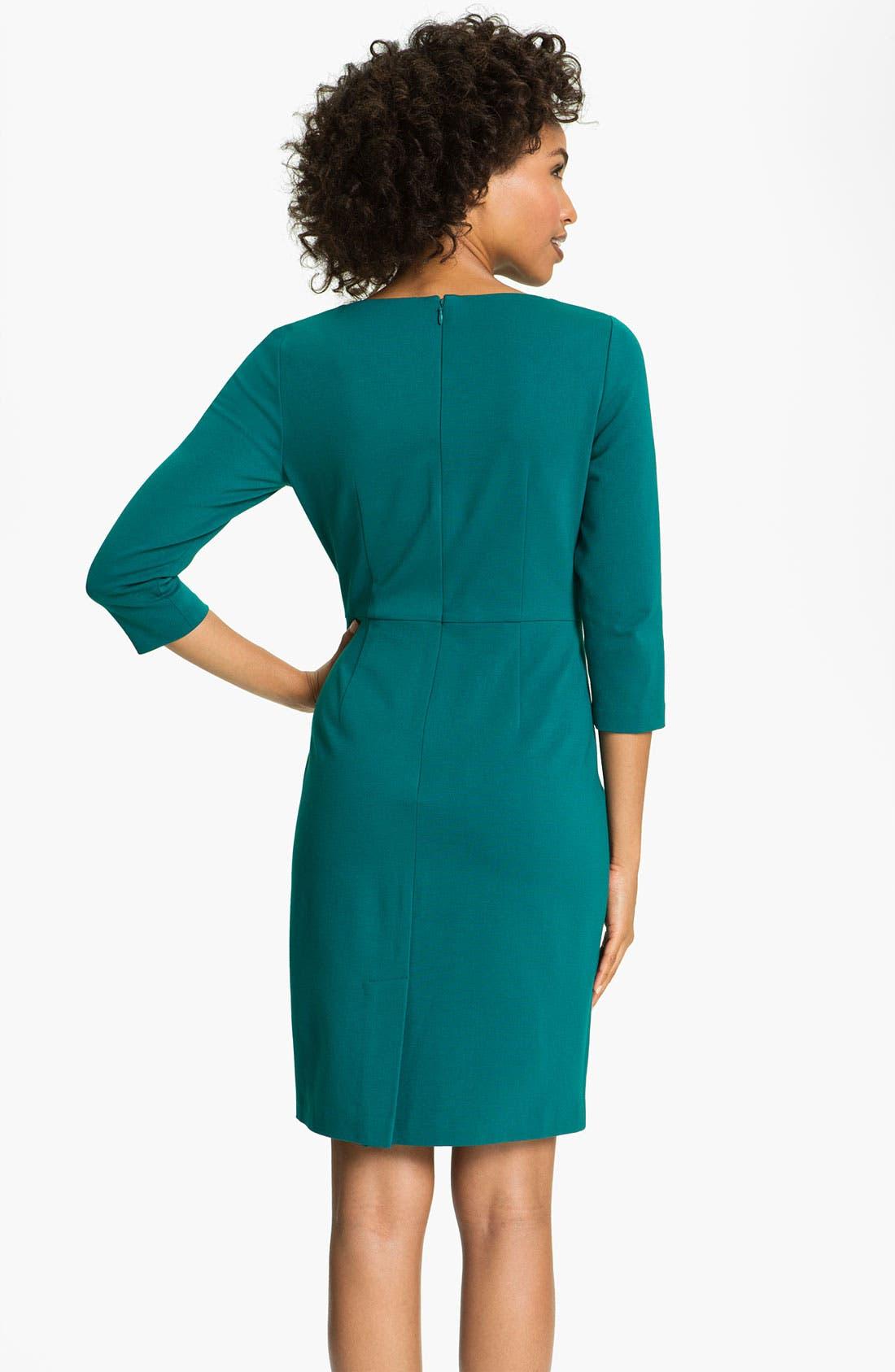 Alternate Image 2  - Adrianna Papell Inverted Pleat Ponte Sheath Dress (Petite)