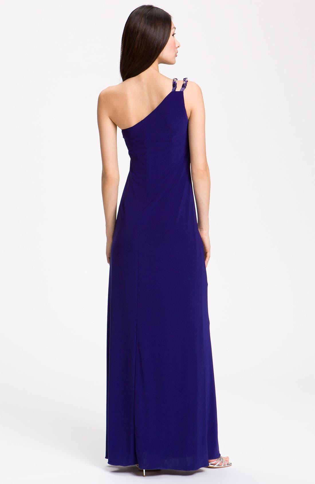 Alternate Image 2  - JS Boutique Knotted One Shoulder Dress (Petite)