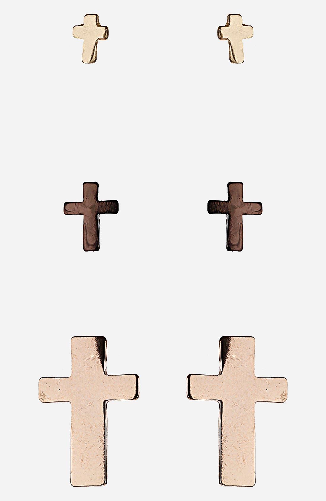 Alternate Image 1 Selected - Topshop 'Ditsy Crosses' Assorted Stud Earrings (Set of 3)