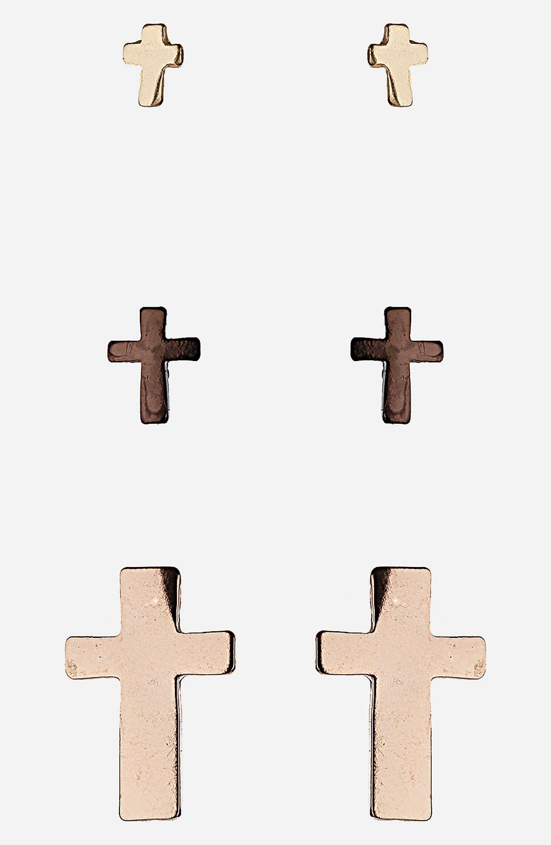 Main Image - Topshop 'Ditsy Crosses' Assorted Stud Earrings (Set of 3)